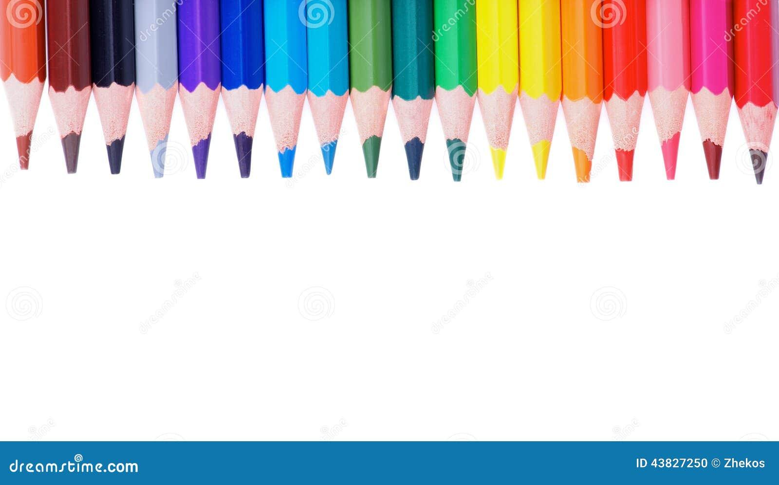 Colorful Pencils Border Stock Photo Image 43827250