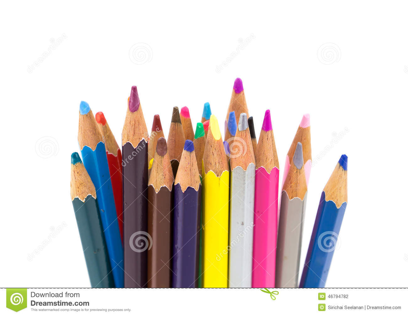 Colorful pencils in pail
