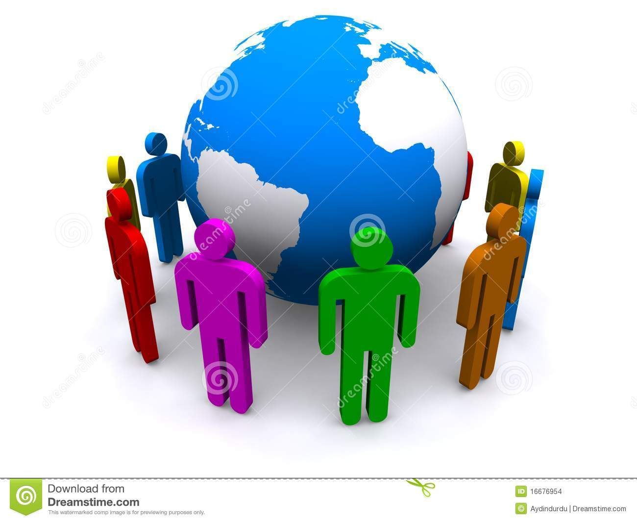 Colorful People Around Globe Stock Illustration - Image ... Colorful People