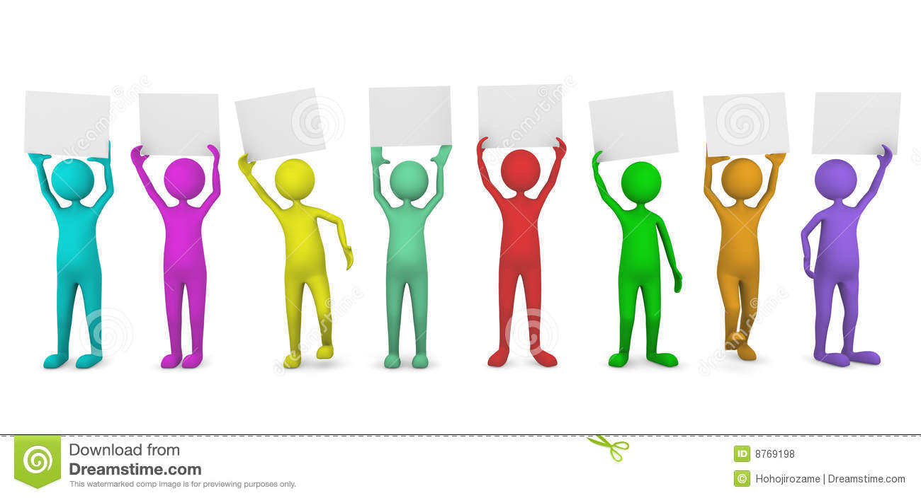 Colorful People Holding Paper Cards Royalty Free Stock ... Colorful People
