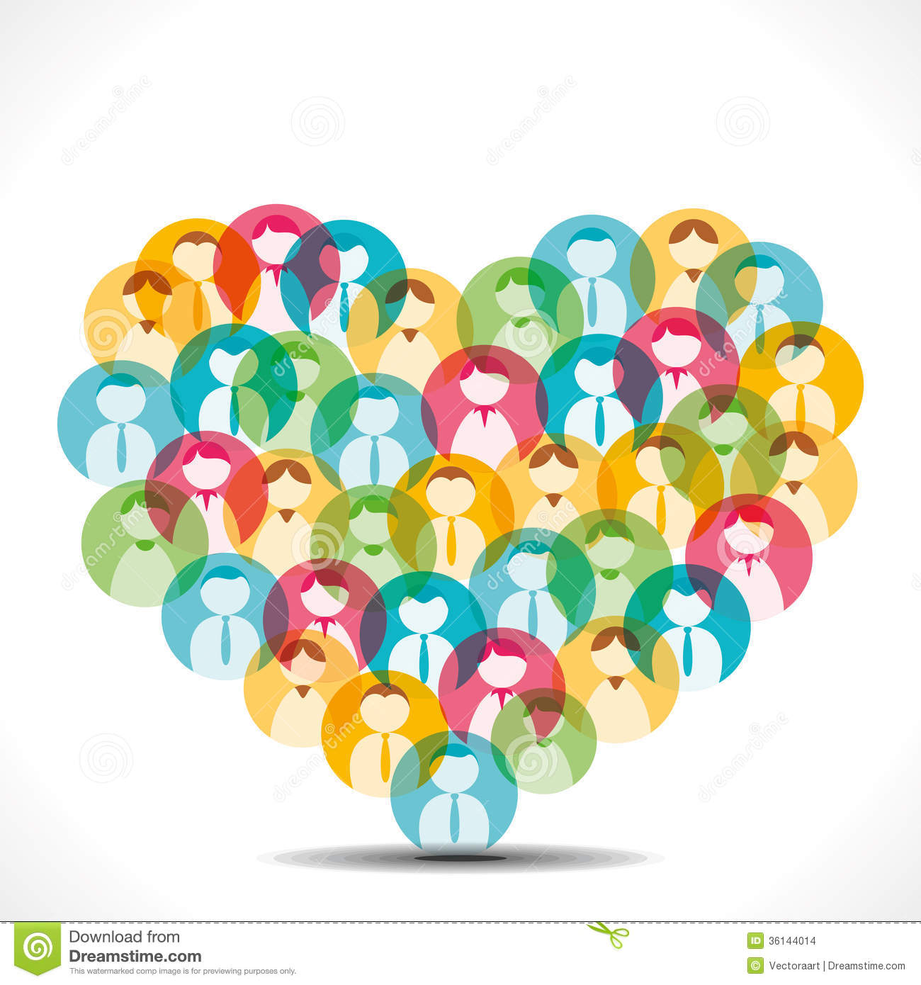 Colorful People Icon Design Heart Shape Stock Images ...