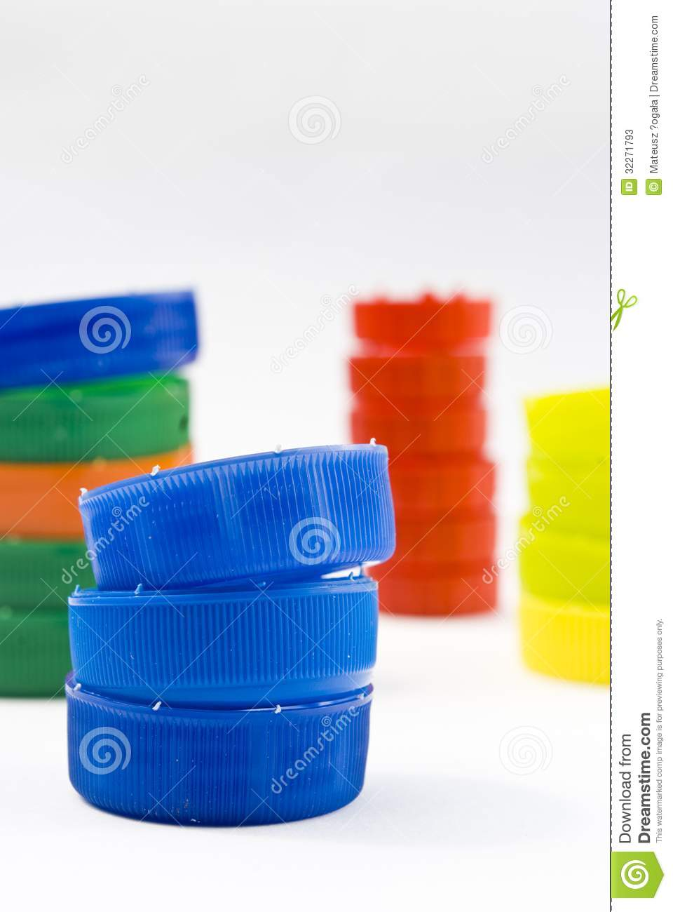 Colorful Pet Bottle Caps As Recycling Concept Stock Image