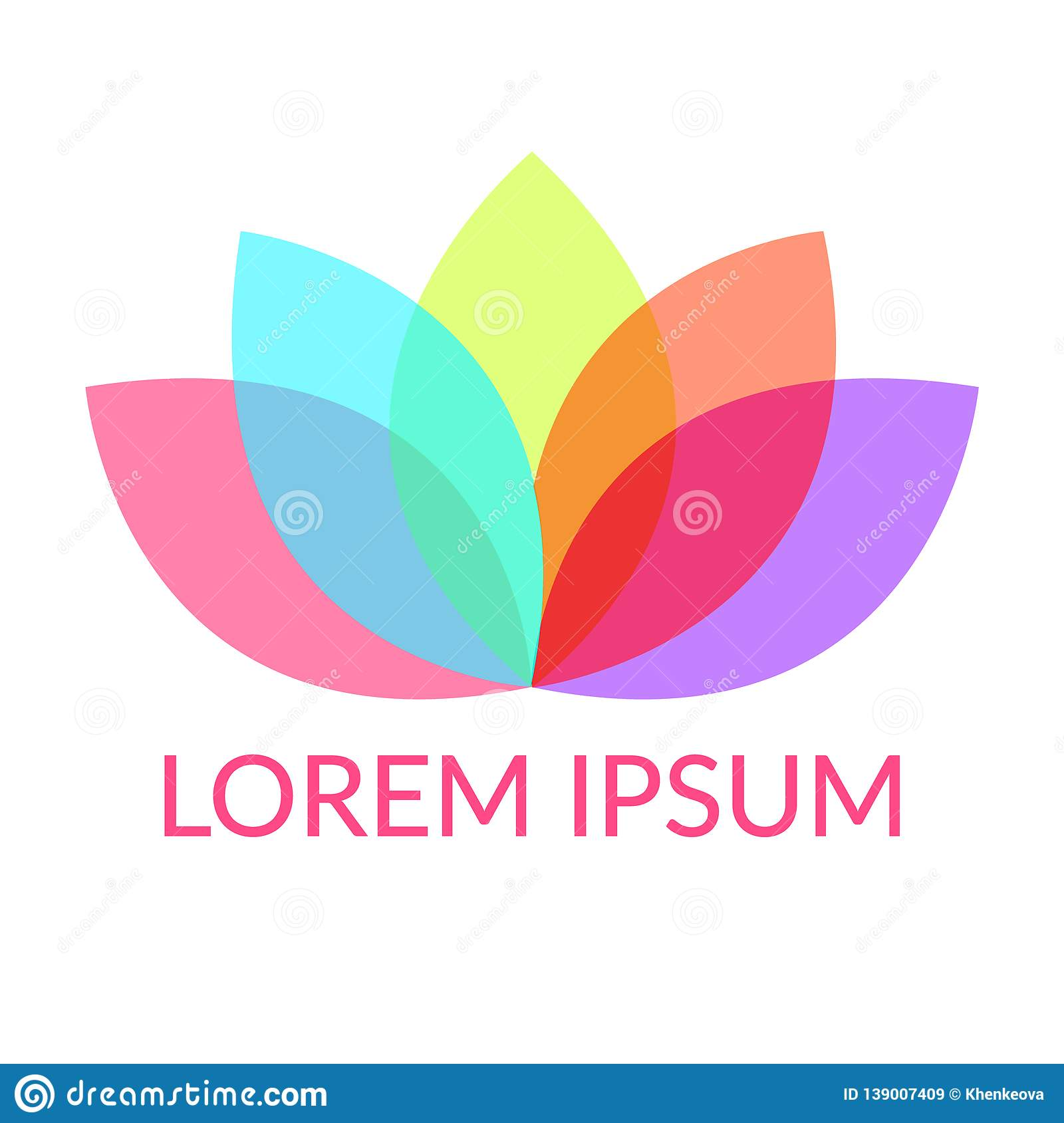 Colorful petals Lotus or water lily flower with five overlay color leaves, symbol of harmony or yoga. Sample text