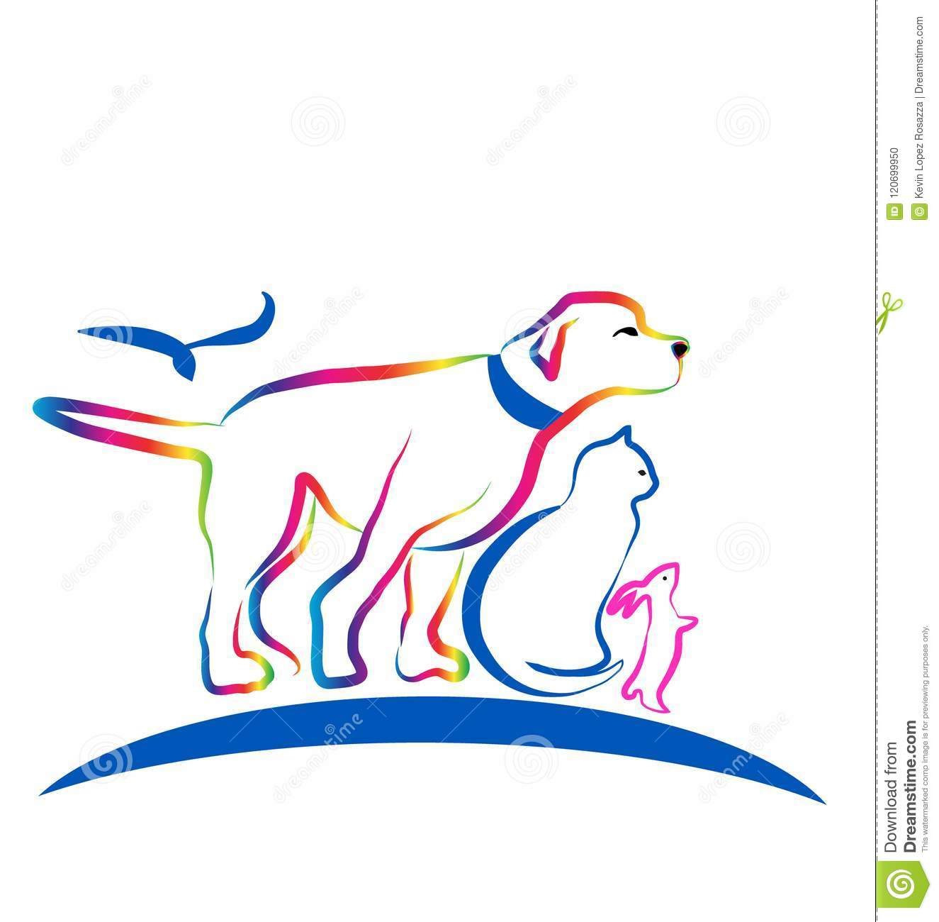 colorful pets dog cat rabbit line art vector stock vector rh dreamstime com Pet Sitting Services Clip Art Pet Food Clip Art