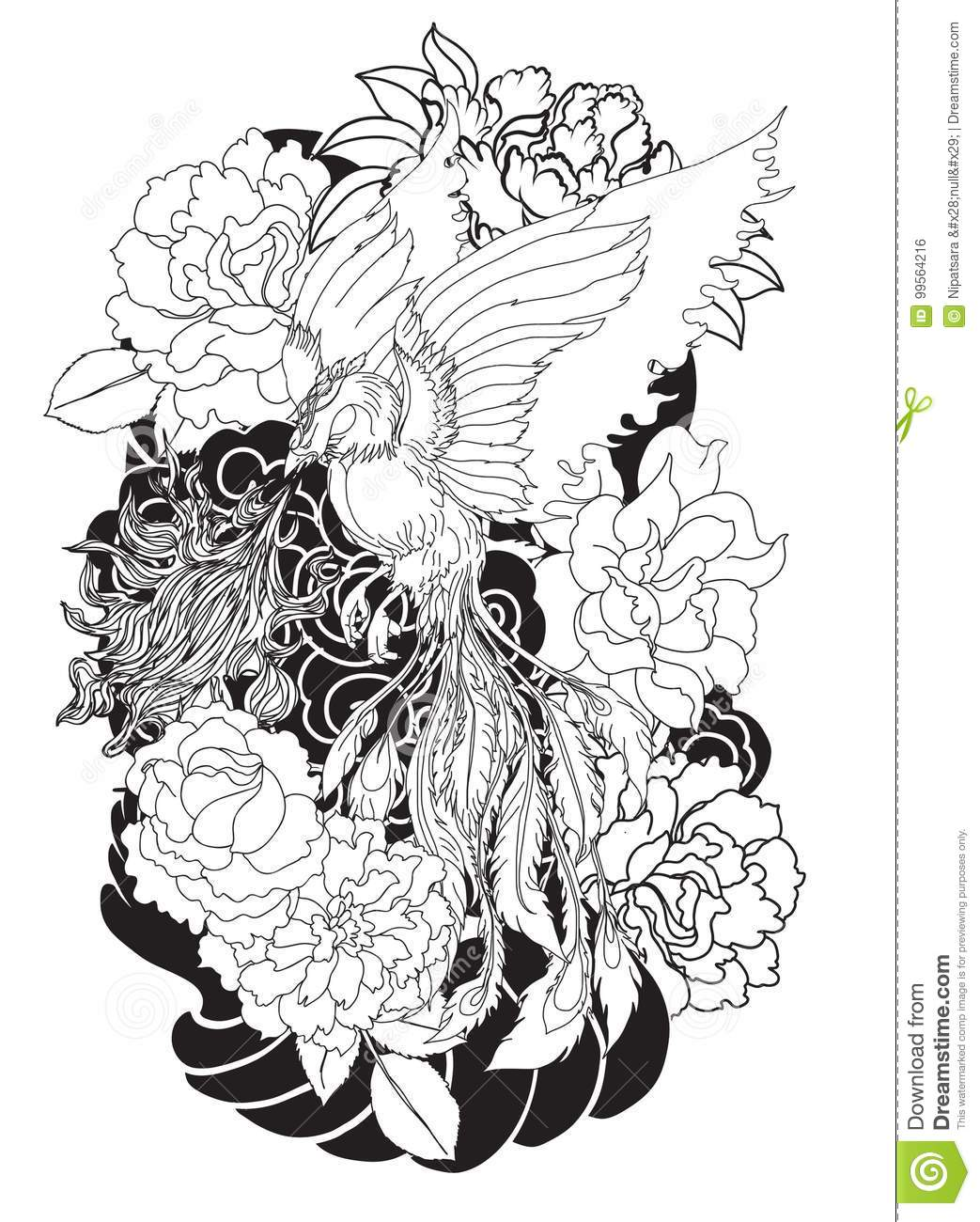 Phoenix Fire Bird With Peony Flower And Rose On Cloud And Wave