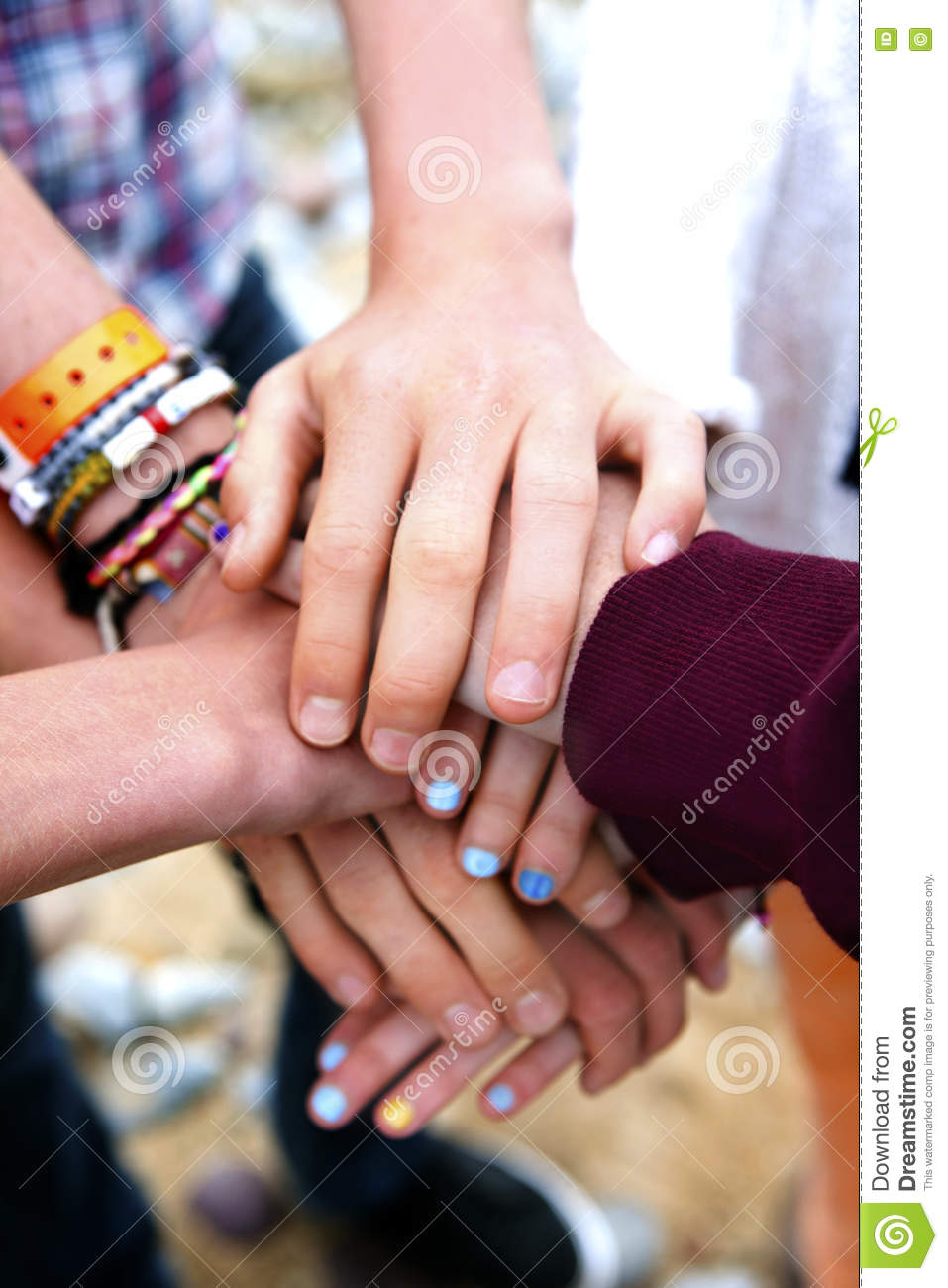Colorful Pile of youngsters hands