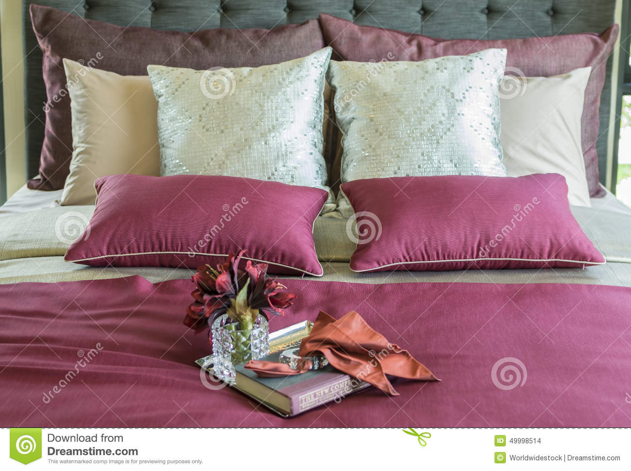 Colorful Pillow And Decorative Tray On The Bed Stock Photo - Image: 49998514