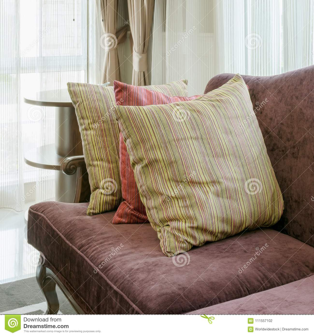 Fantastic Colorful Pillows On Red Sofa In Luxury Living Room Stock Evergreenethics Interior Chair Design Evergreenethicsorg