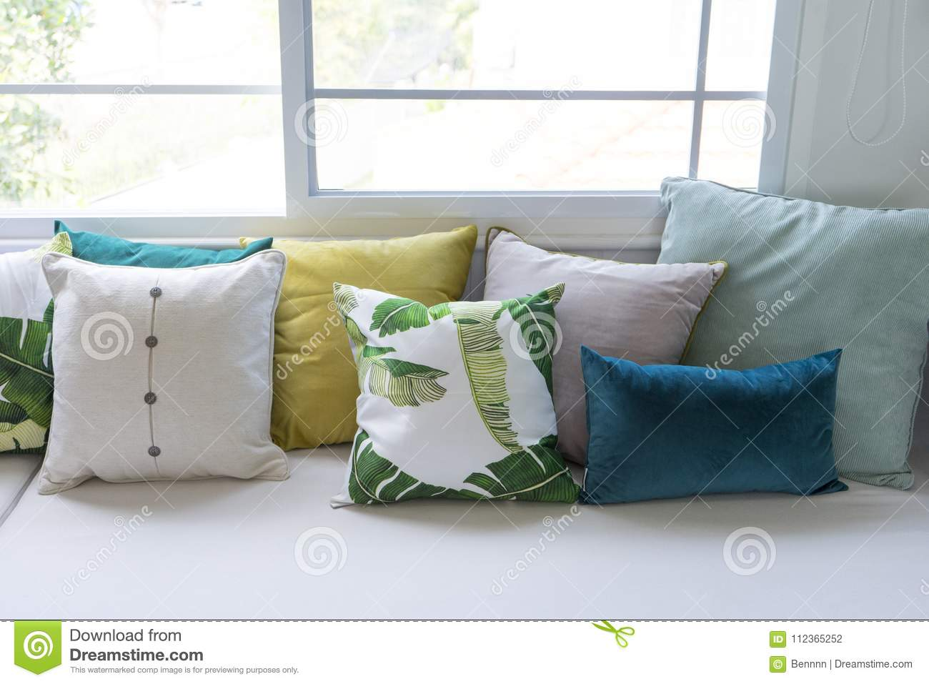 Enjoyable Colorful Pillows On Sofa In Modern Living Room Stock Photo Cjindustries Chair Design For Home Cjindustriesco