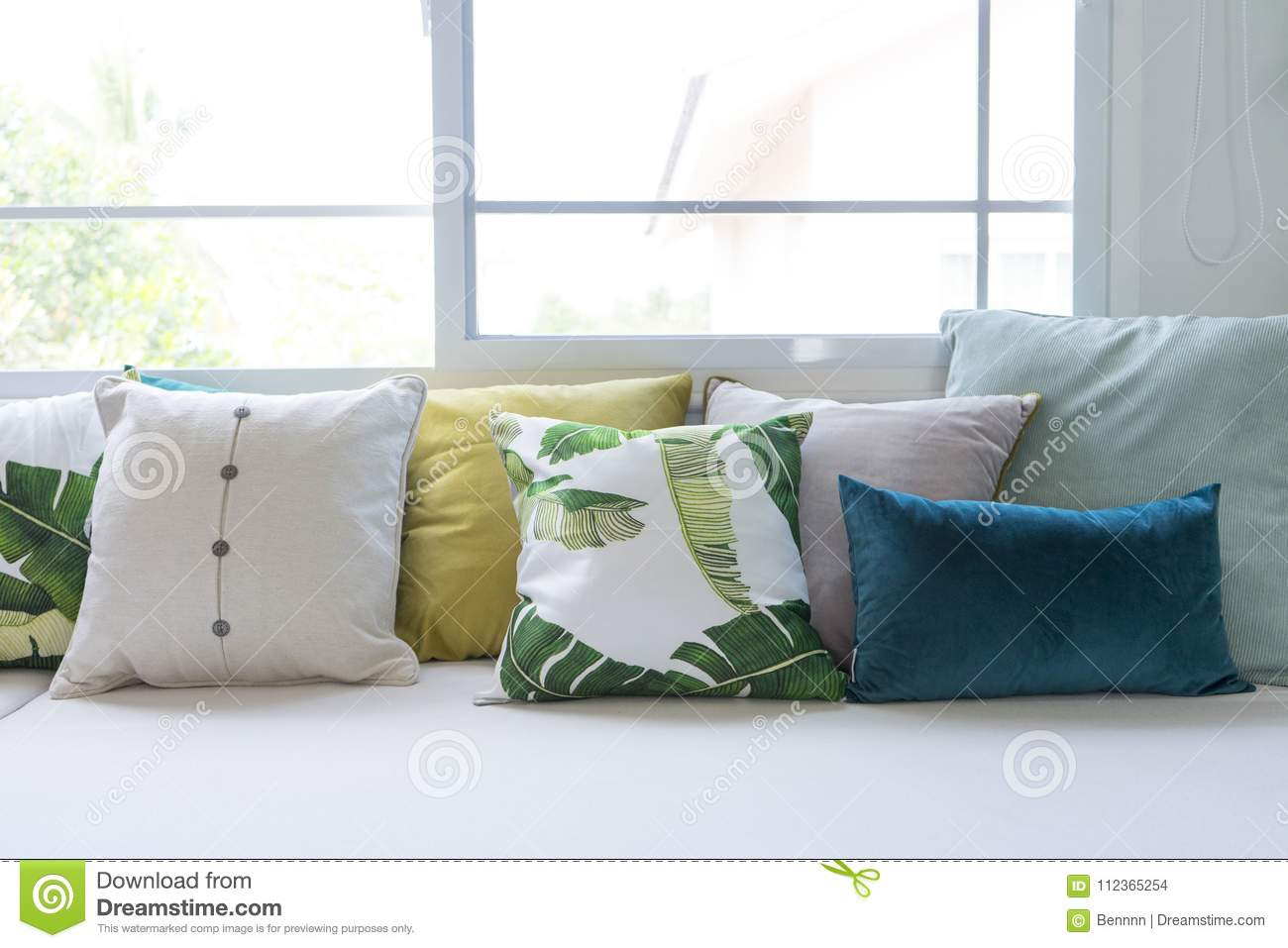 Admirable Colorful Pillows On Sofa In Modern Living Room Stock Photo Cjindustries Chair Design For Home Cjindustriesco