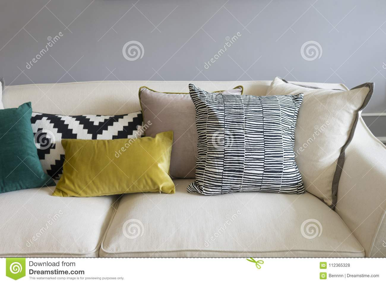 Strange Colorful Pillows On Sofa In Modern Living Room Stock Photo Cjindustries Chair Design For Home Cjindustriesco