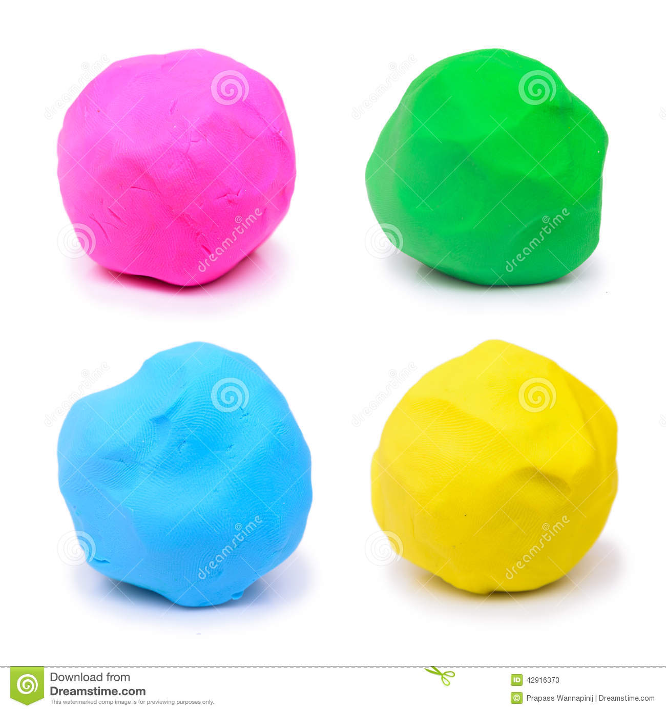 colorful pink green blue and yellow plasticine clay stock
