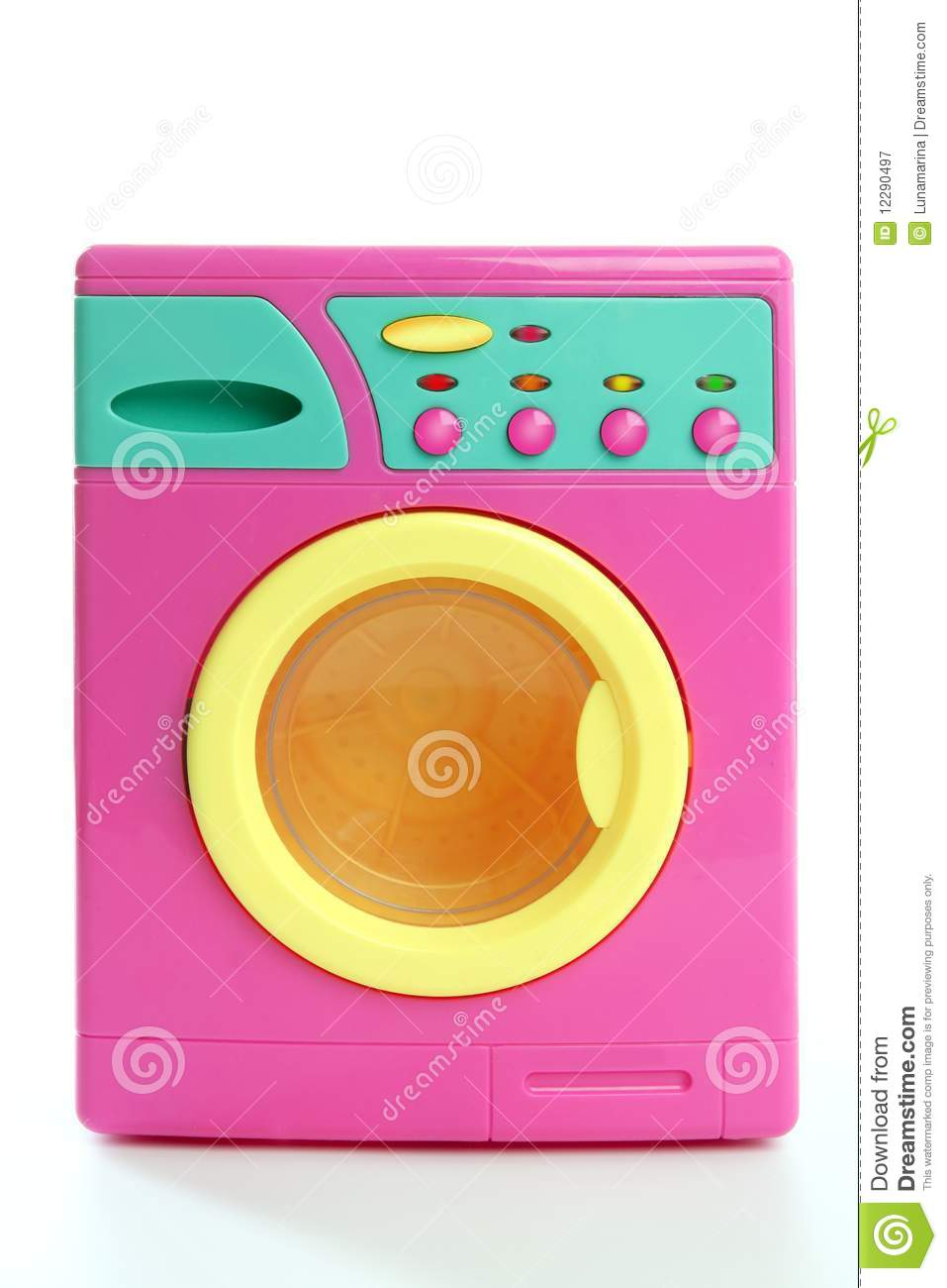 Colorful Pink Yellow Clothes Toy Washing Machine Stock