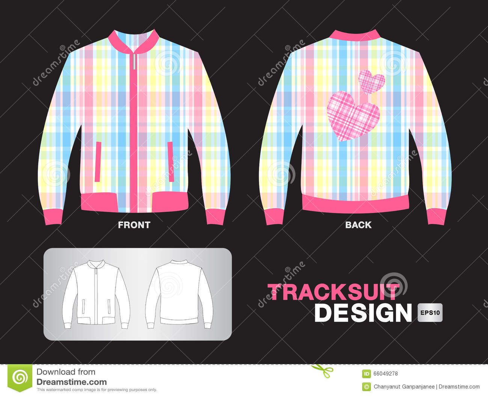 Shirt uniform design vector - Colorful Plaid Tracksuit Design Jacket Vector Illustration Sport T Shirt Uniform Design Clothes Royalty Free