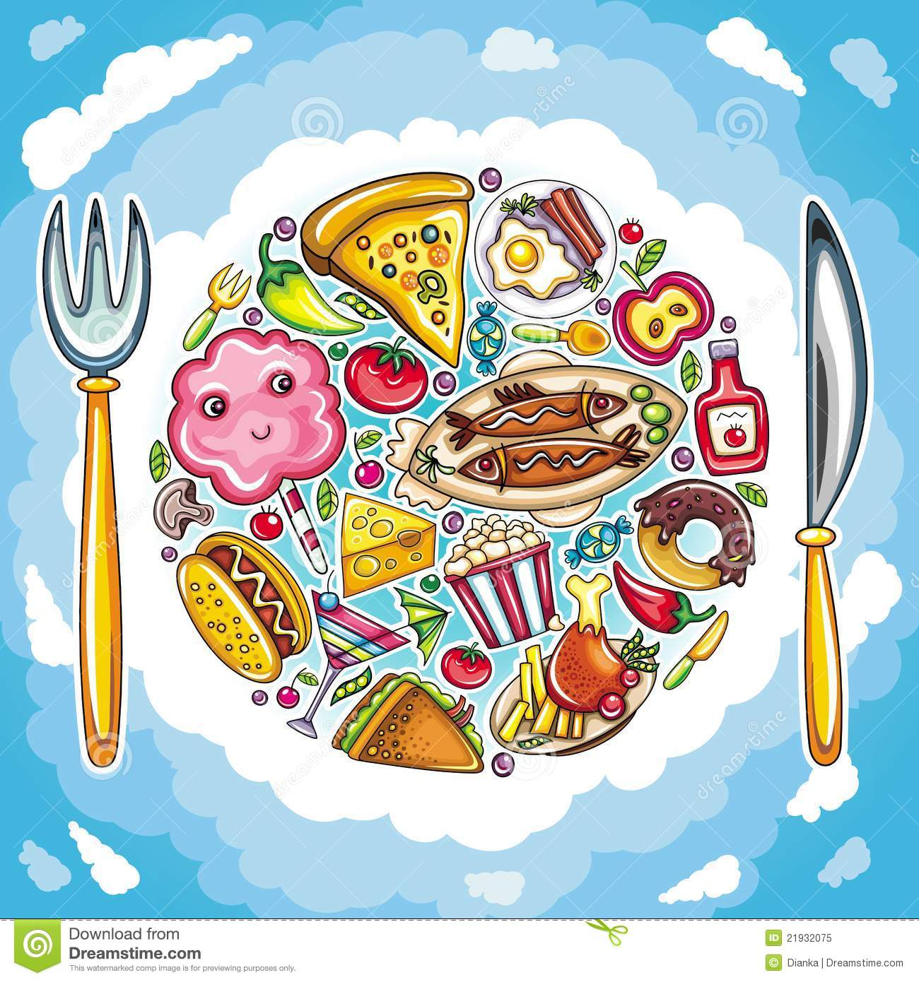 Colorful planet of cute food