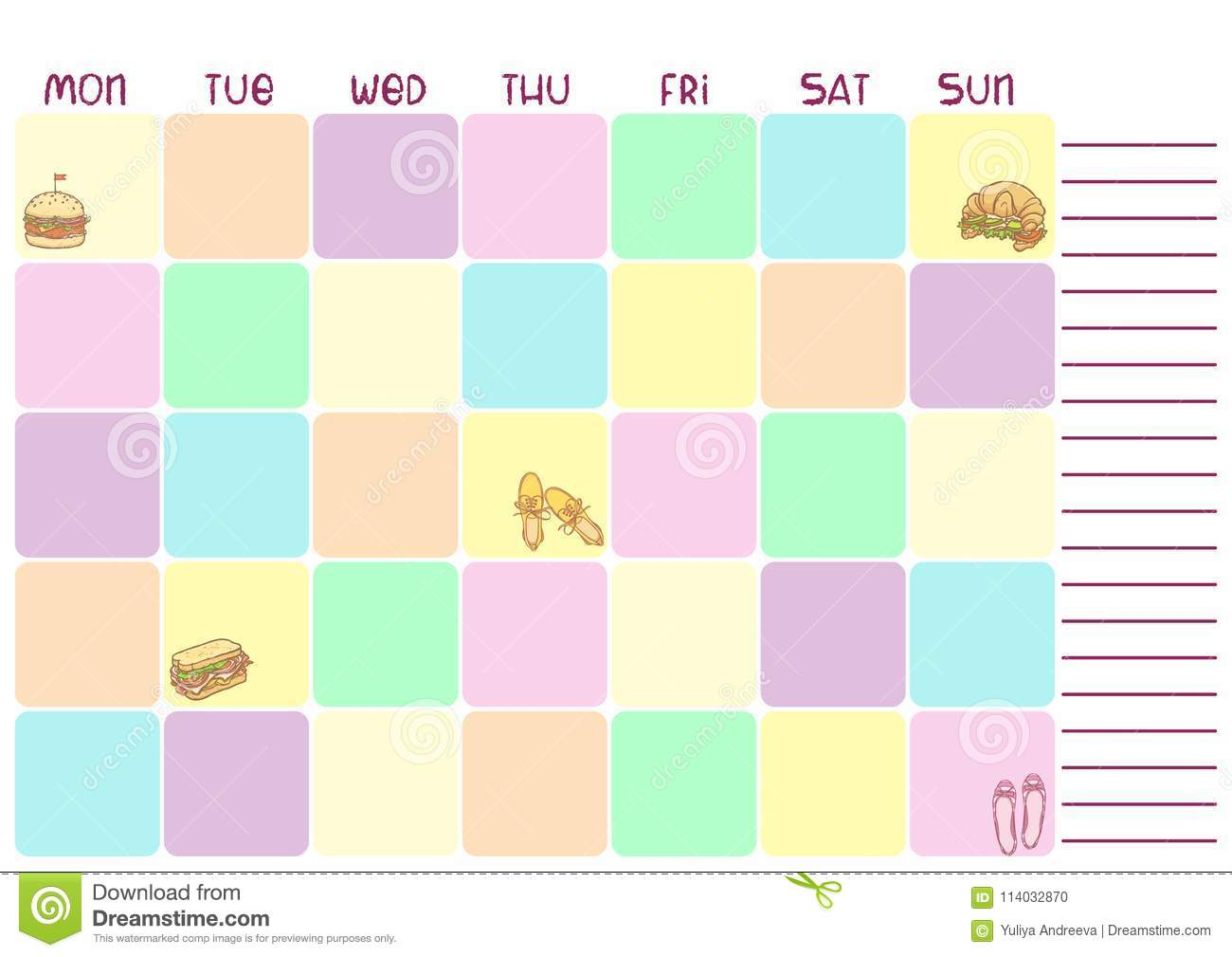 daily colorful planner for business or education with food illus