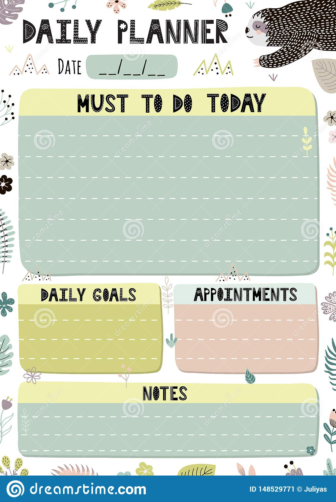 picture about Daily Planner Template named Colourful Day by day Planner Template. Cartoon Organizer Within A4