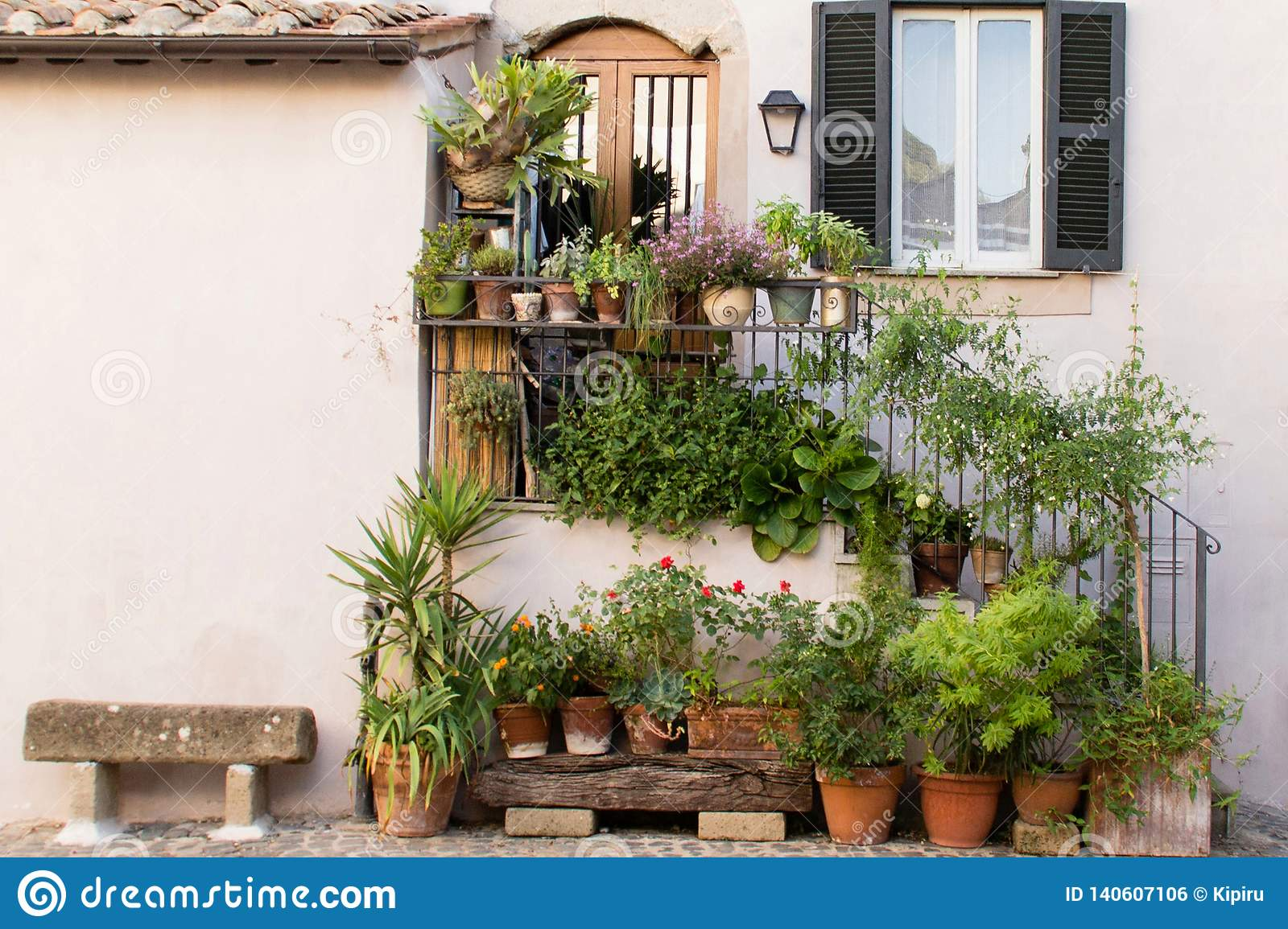 Colorful Plants And Flowers Outside A House Stock Photo