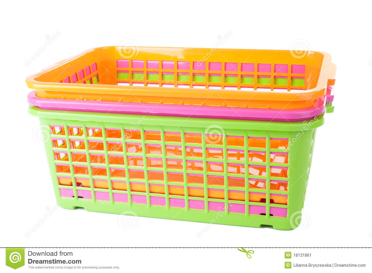 Colorful Plastic Baskets Stock Image Image 18131861