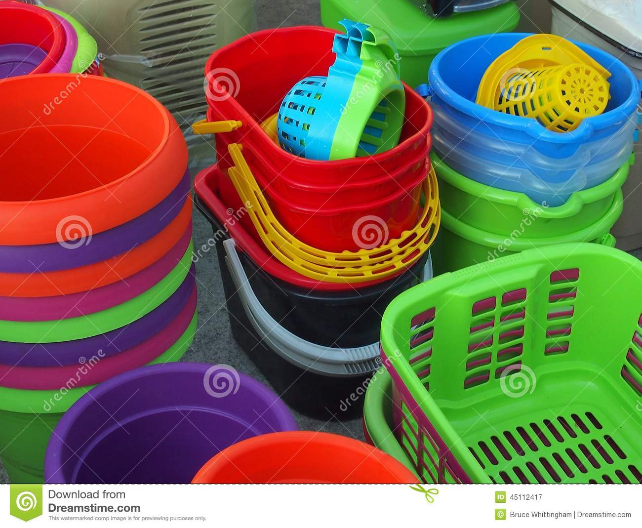 Colorful Plastic Buckets and Baskets, Greek Street Market