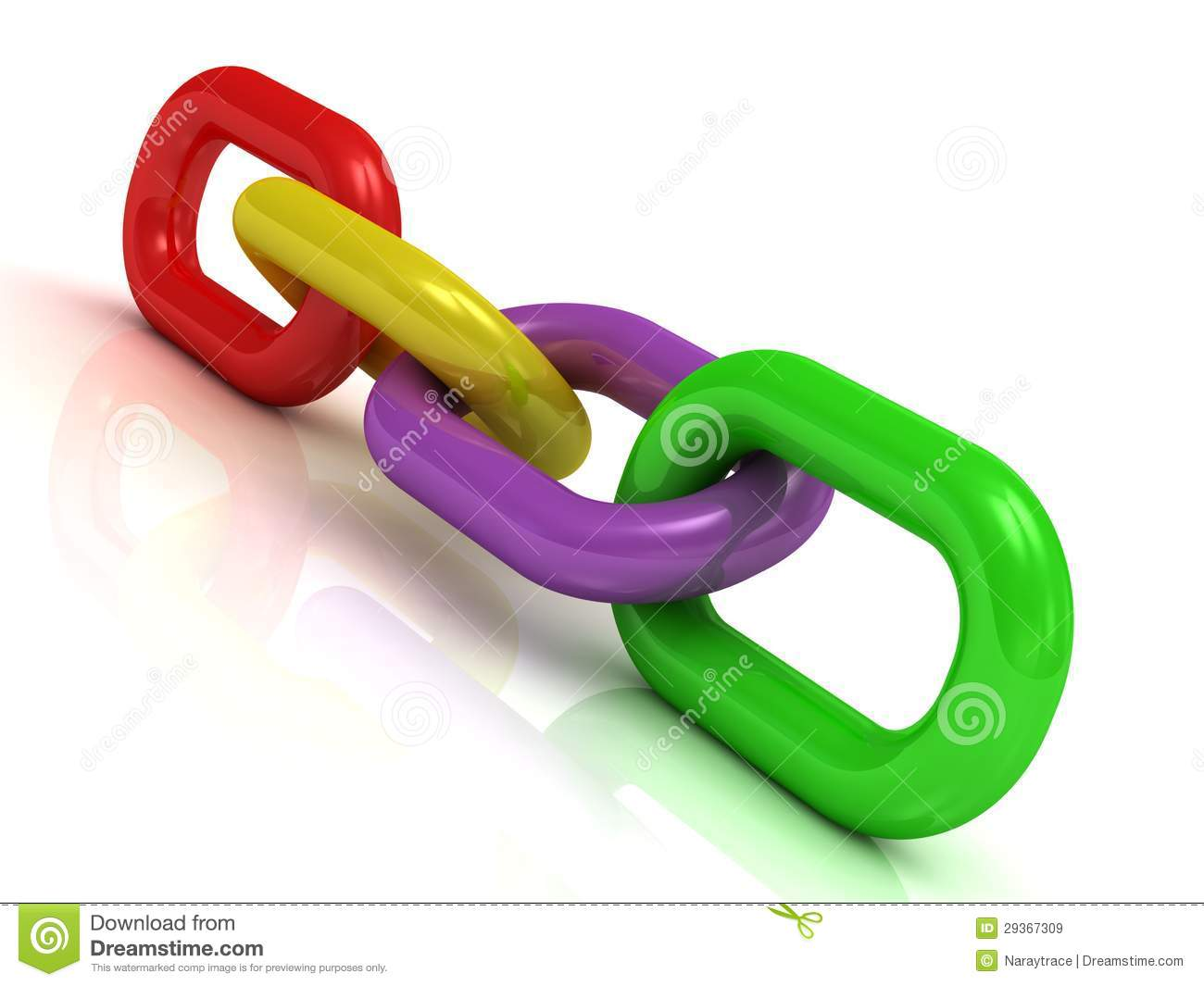 Colorful Plastic Chain Of Four Links Royalty Free Stock Images - Image ...
