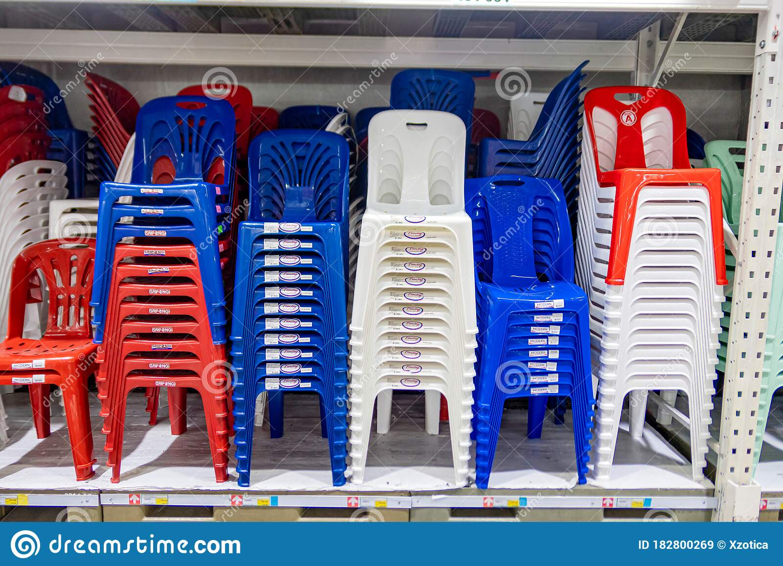Colorful Plastic Chairs For Sell In Makro Supermarket Editorial Stock Image Image Of Chair Object 182800269