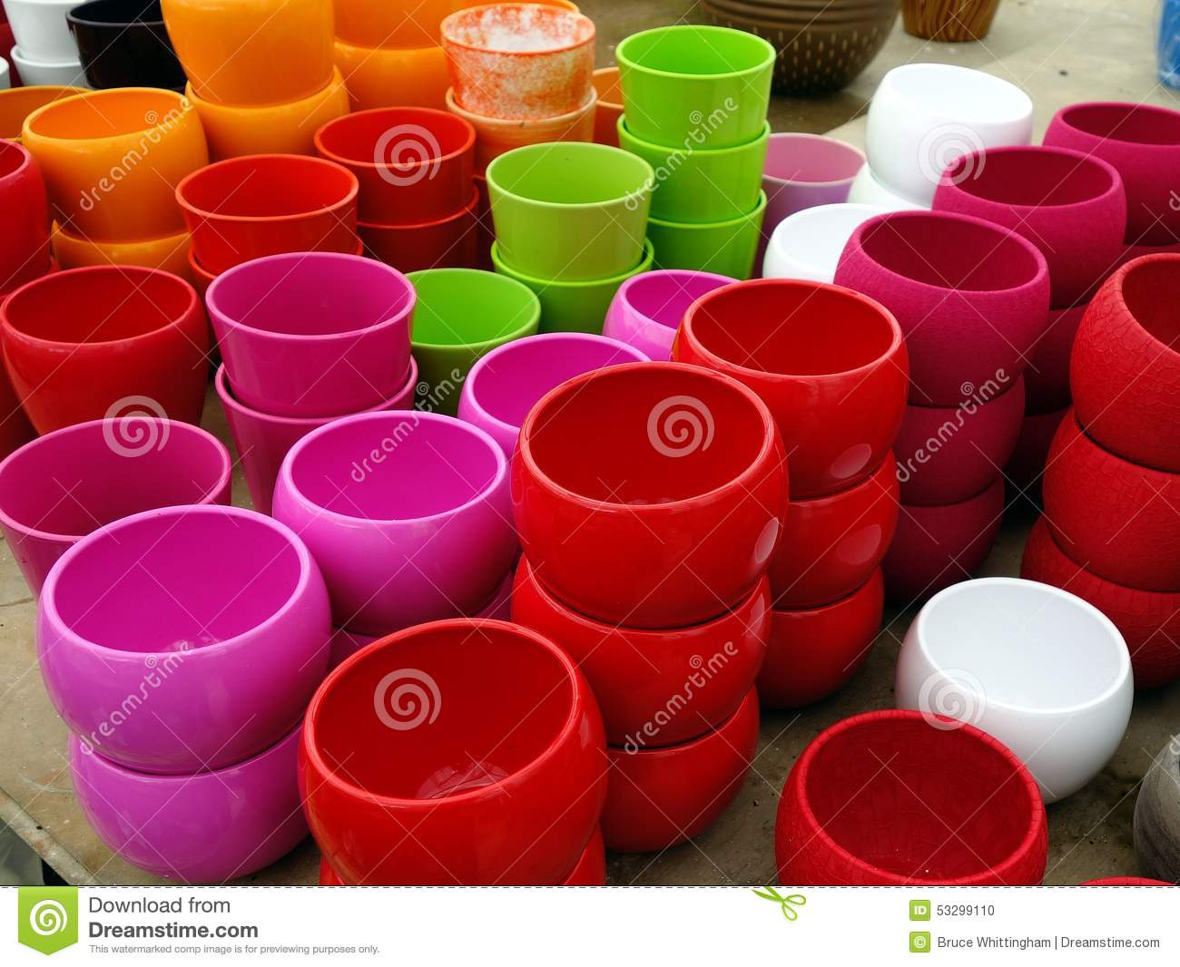 Colorful Plastic Flower Pots Stock Photo - Image of decorative, pots ...