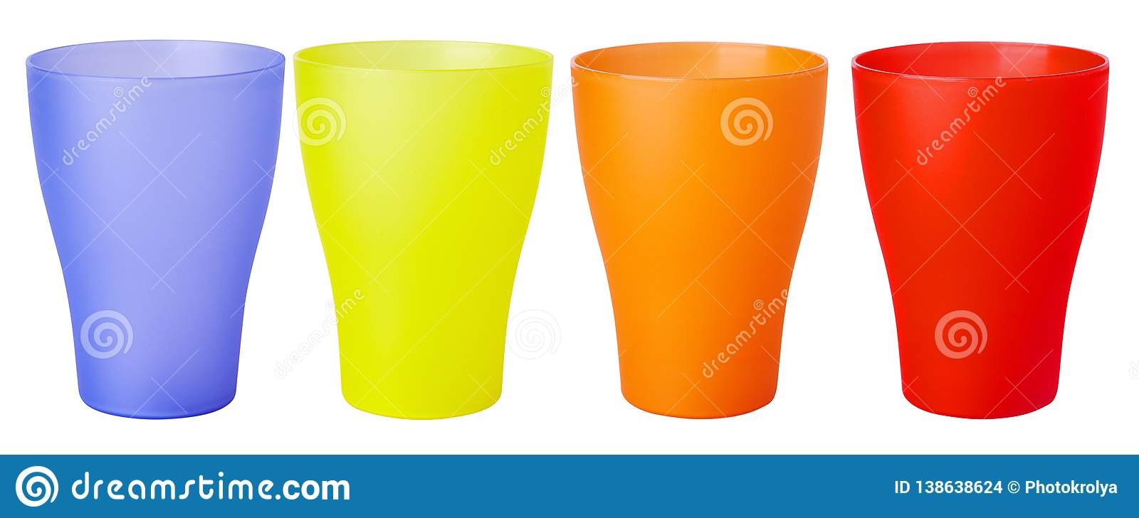 Colorful plastic glass for picnic isolated on white background
