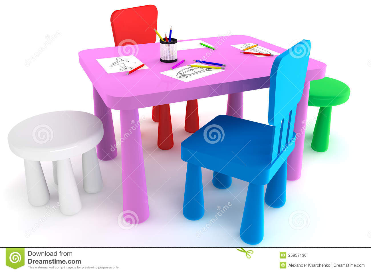 Colorful Plastic Kid Chairs And Table Royalty Free Stock Image Image 25857136