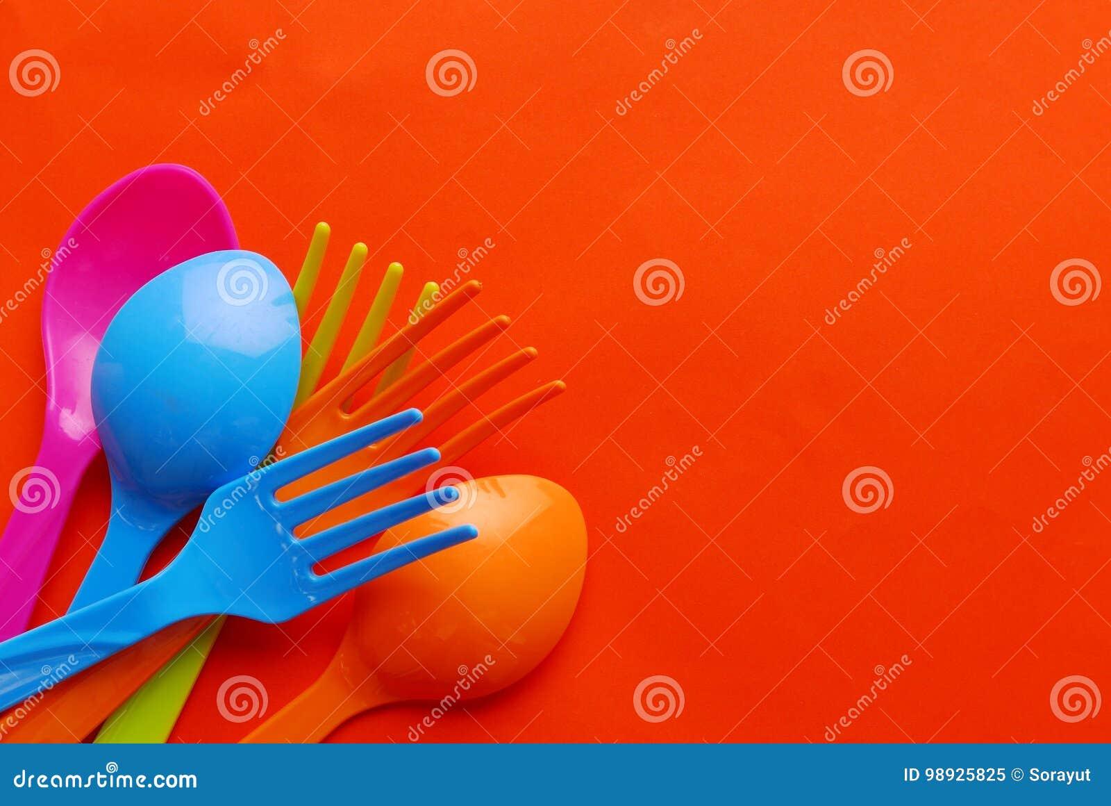 Colorful plastic spoon
