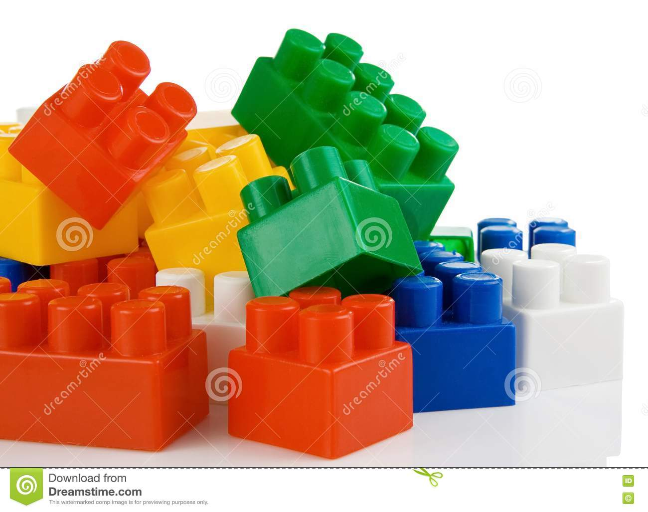 Colorful Plastic Toys Bricks Isolated On White Royalty Free Stock Photo Image 18406905