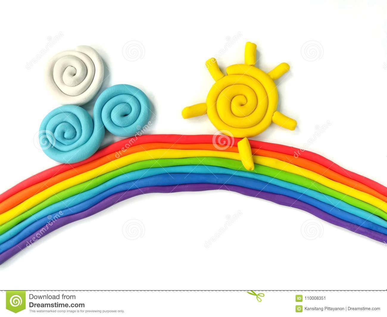 Colorful plasticine clay, beautiful sky dough, rainbow sun cloud handmade, white background