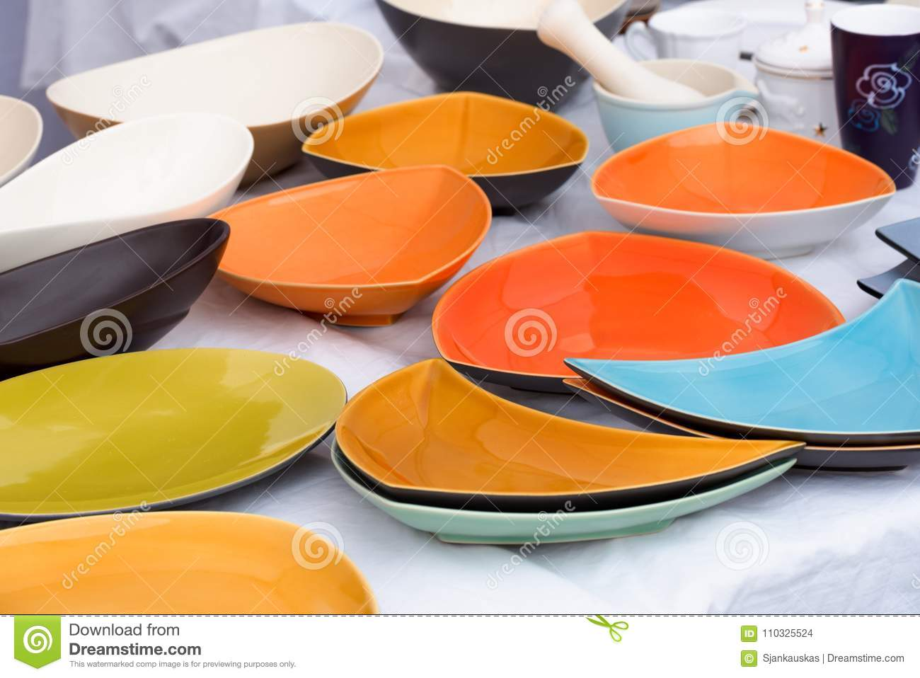 Plates For Sale >> Colorful Plates And Bowls For Sale At A Local Market Stock