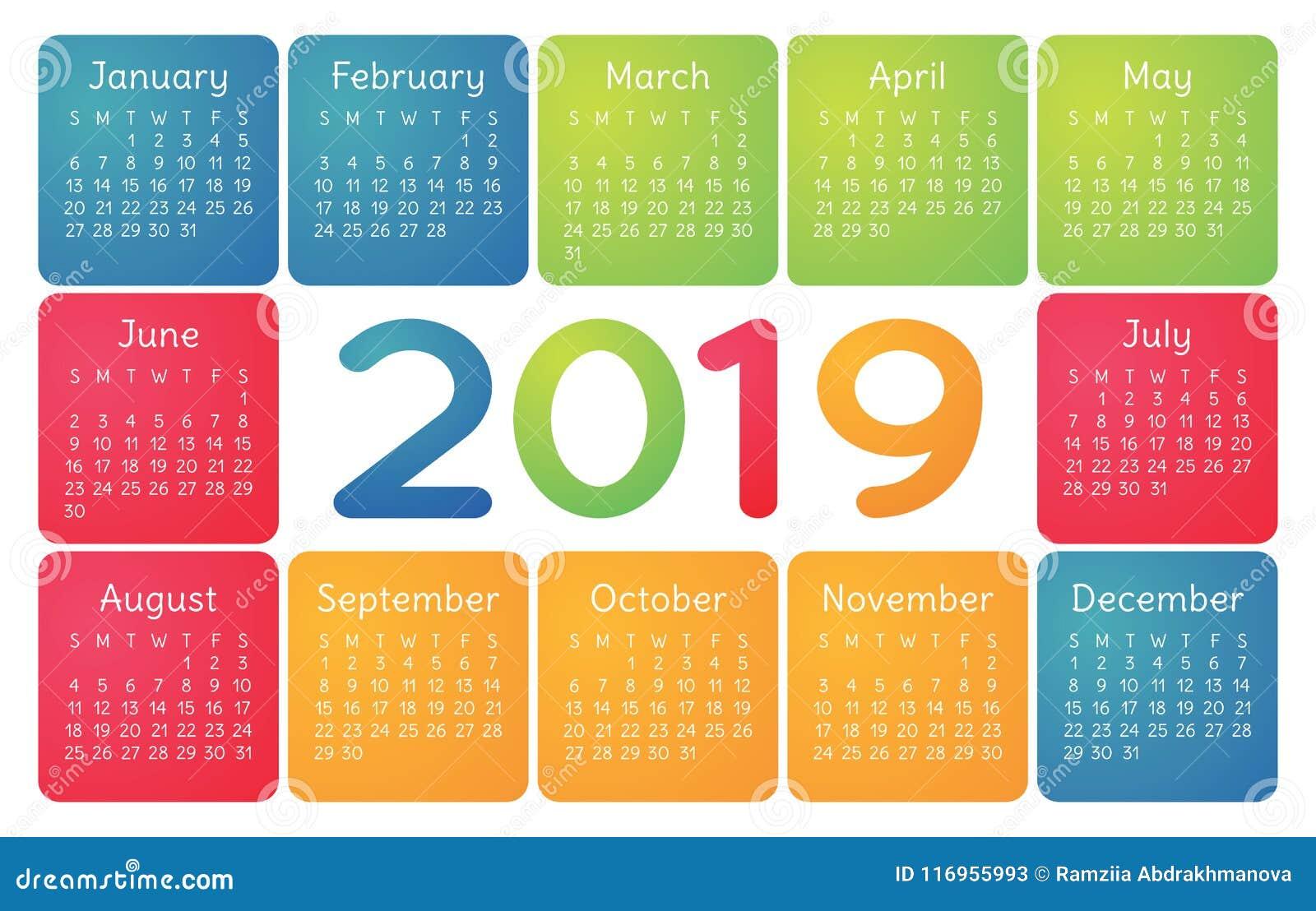 colorful calendar 2019 vector basic grid simple design template