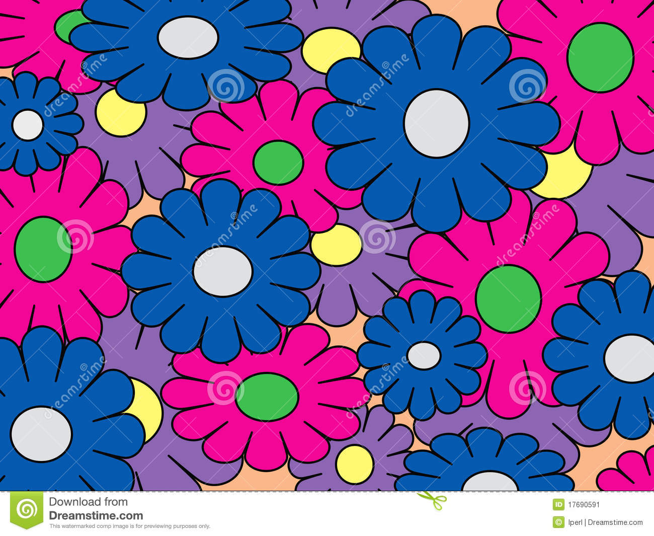 Colorful Pop Art Flowers Stock Image Image Of Blue Pink 17690591