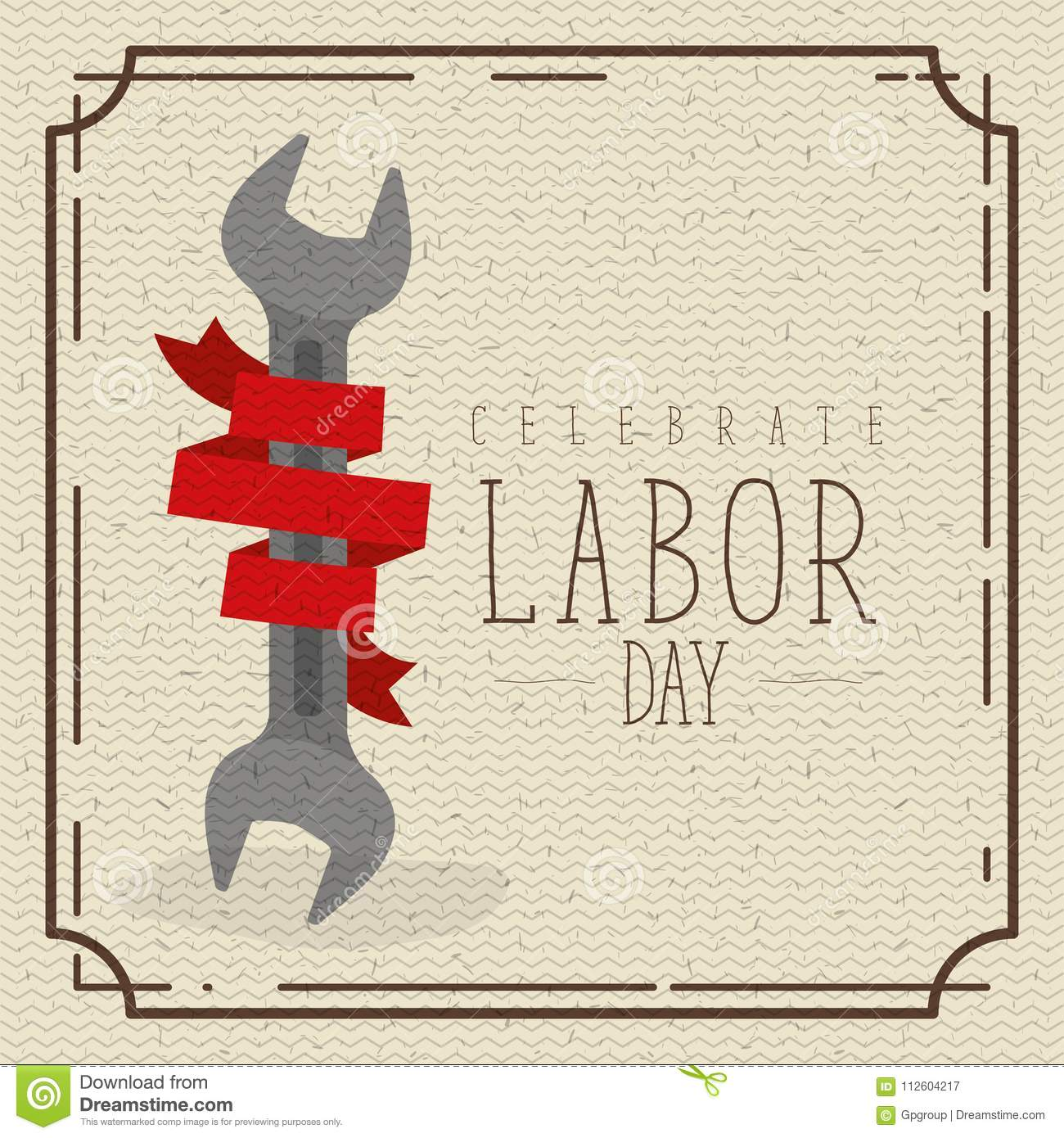 Colorful Poster With Border Vintage Of Celebrate Labor Day With