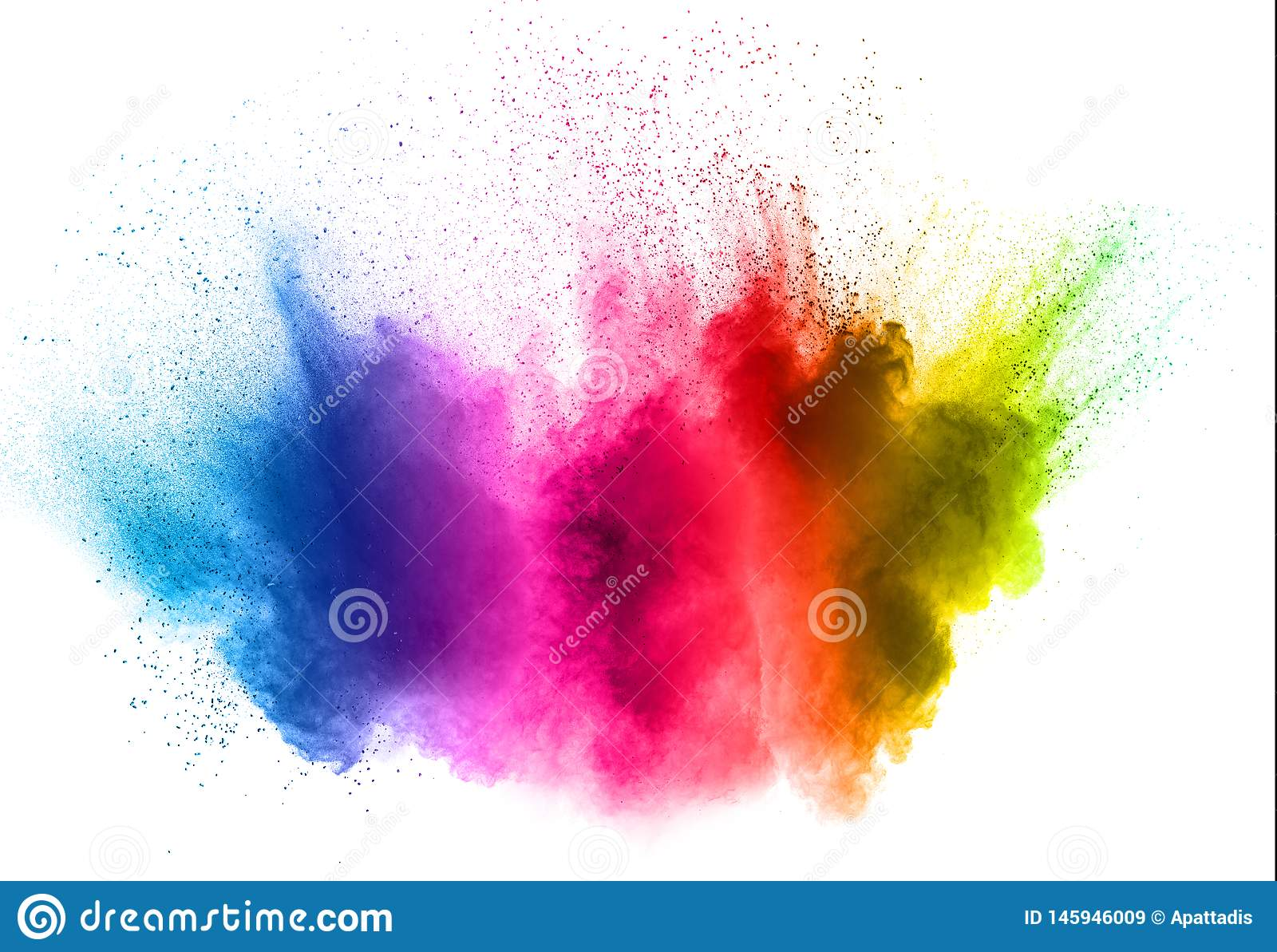Colorful powder explosion on white background. Abstract pastel color dust particles splash