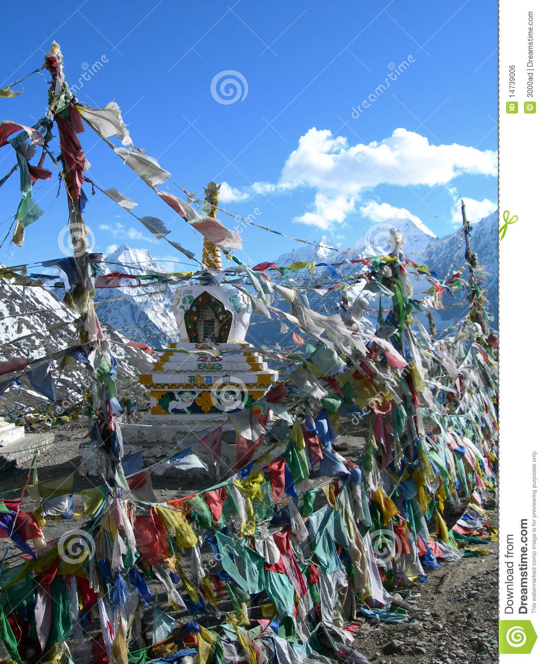 Colorful prayer flags in himalaya region