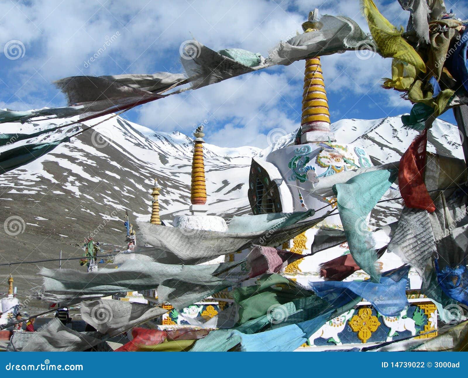 Colorful prayer flags in himalaya region