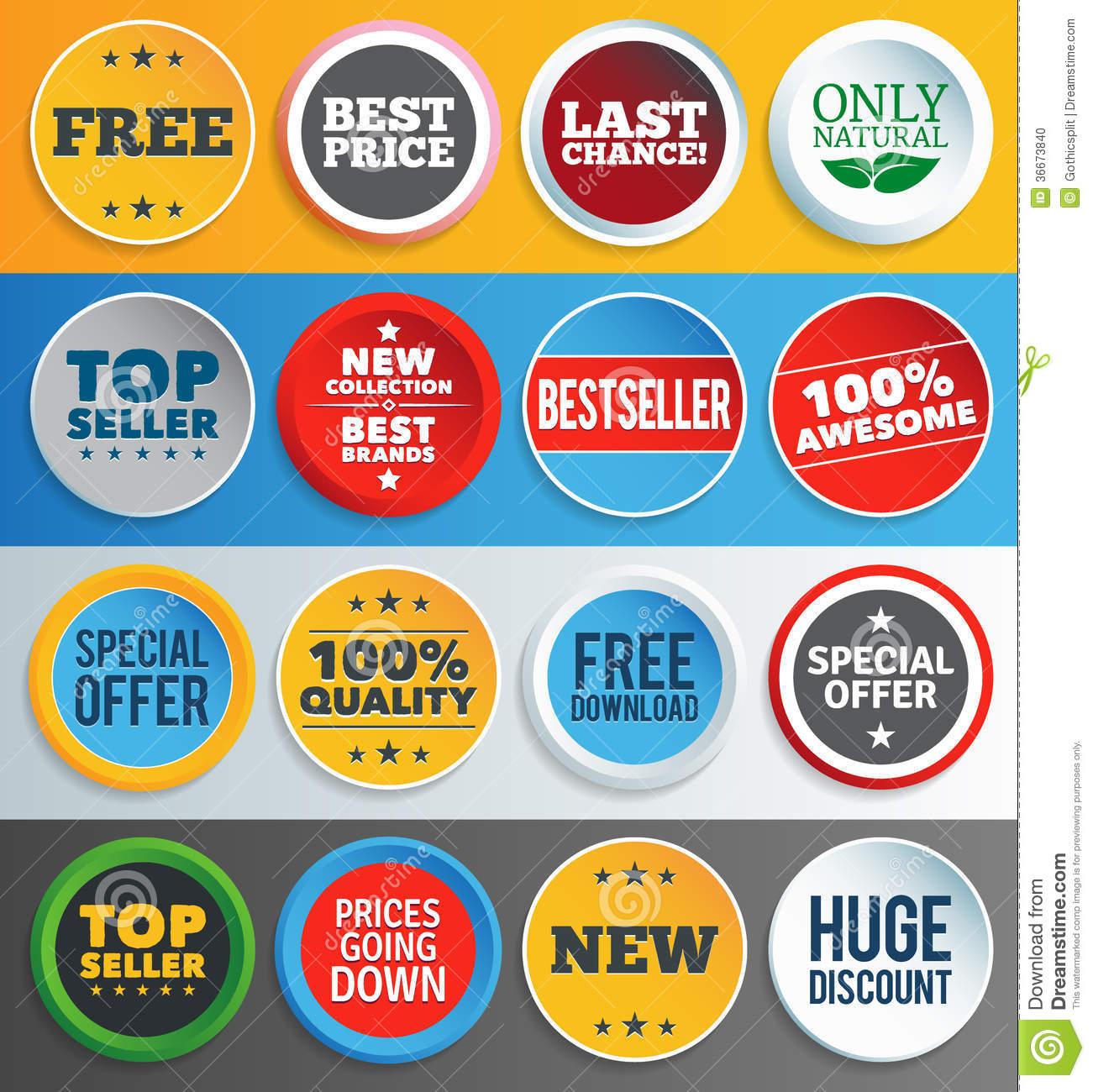 Colorful promo labels and stickers