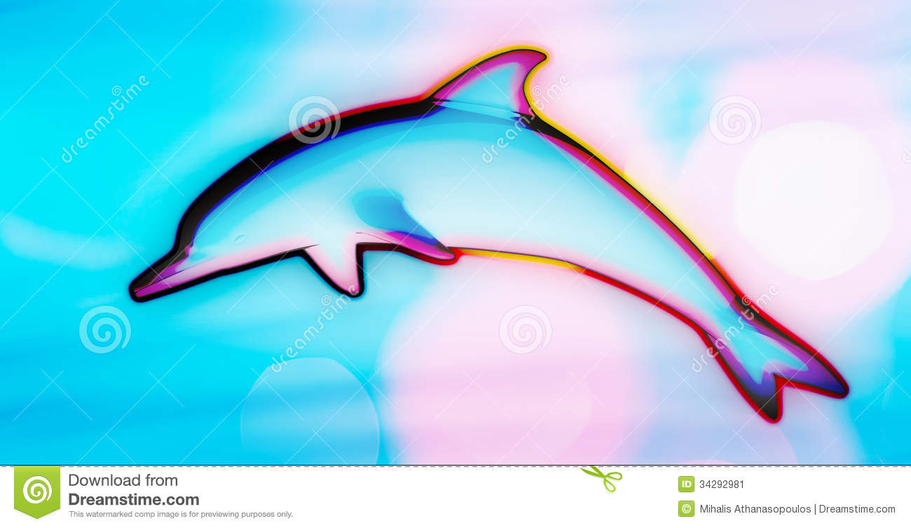 Colorful Psychedelic Dolphin Jumping Background Extended Vector Stock