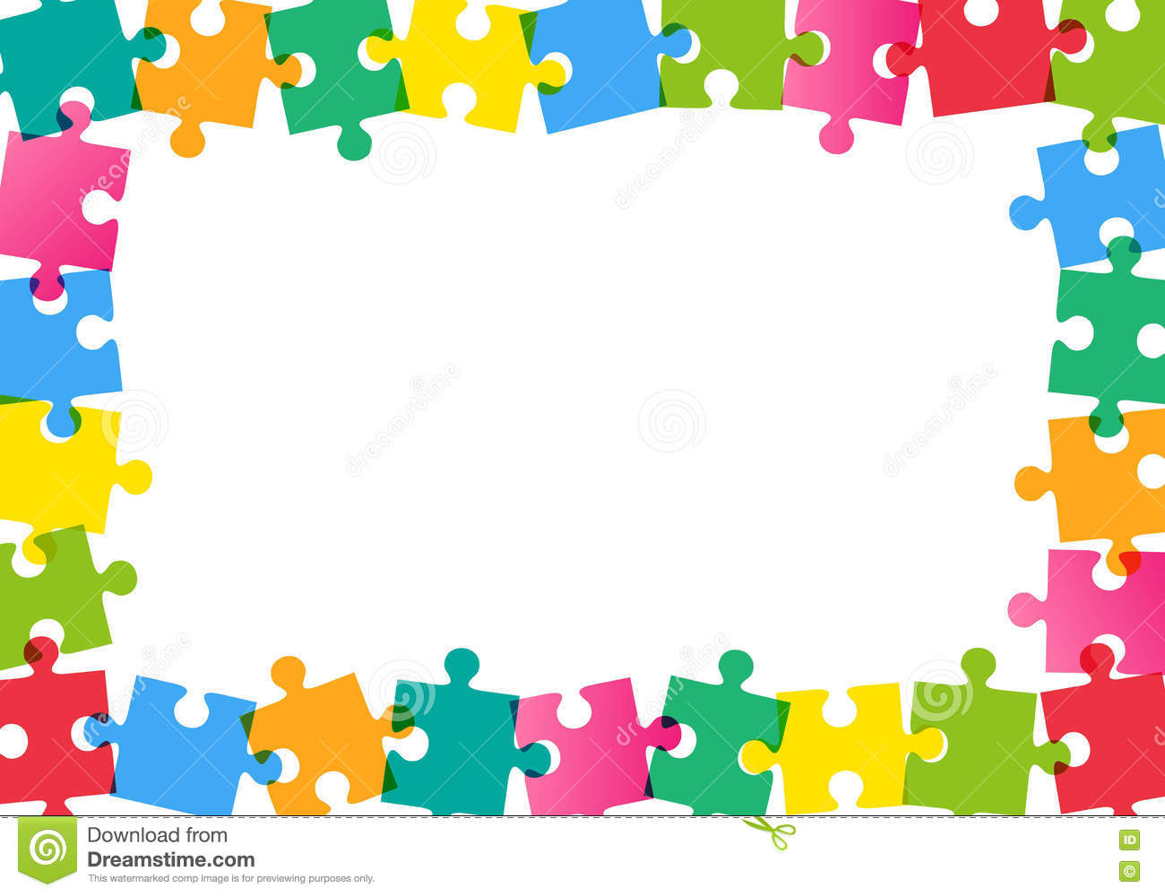 Colorful Puzzle Frame On White Background Stock Vector ...