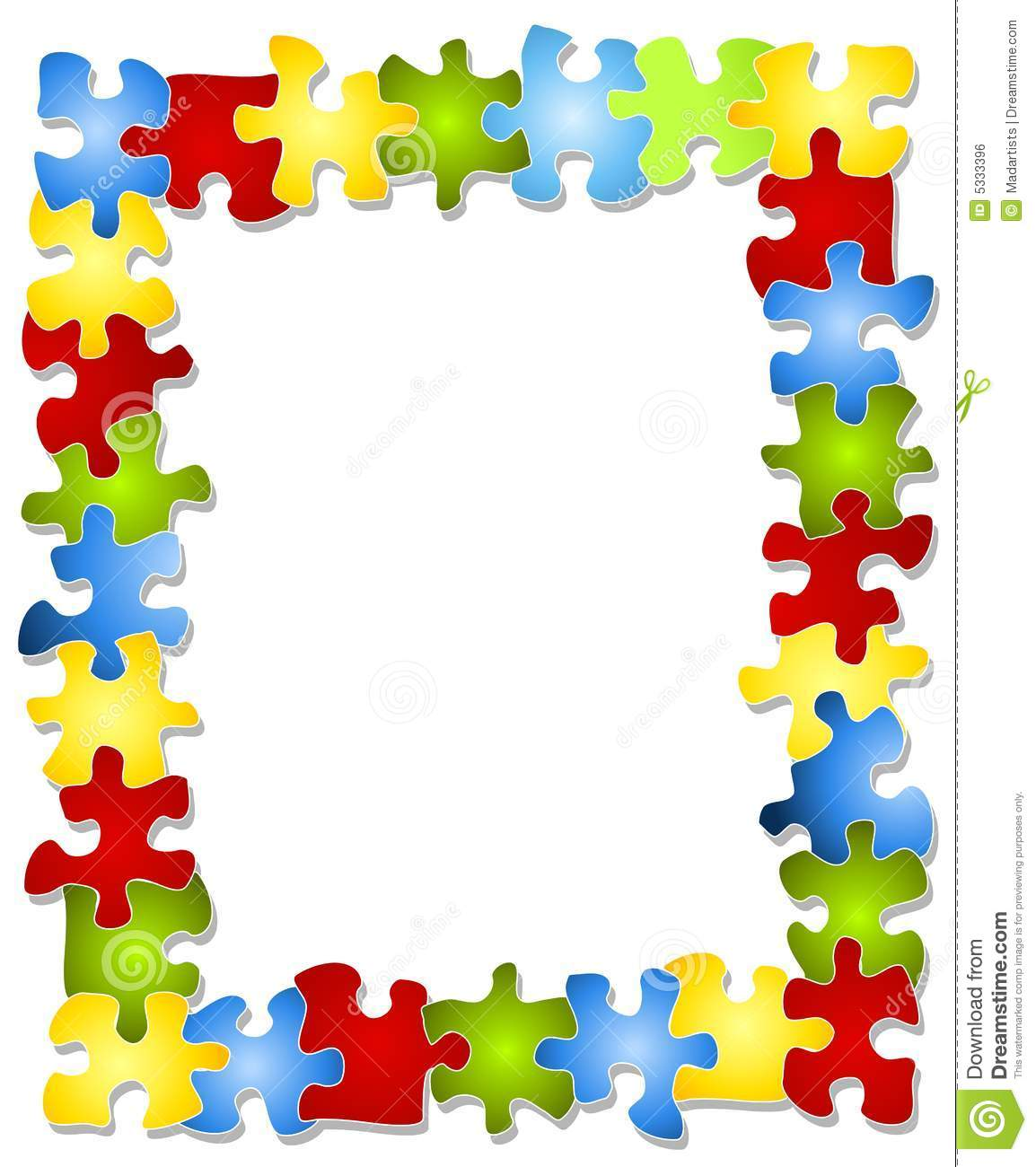 Colorful puzzle pieces frame stock illustration for Cornice puzzle