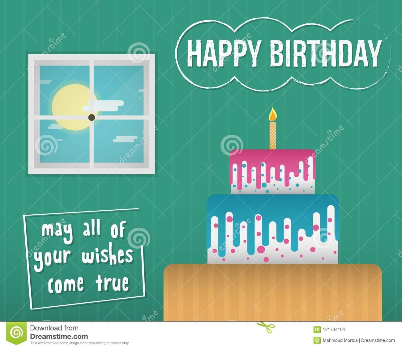 A Colorful And Quality Happy Birthday Ecard Illustration