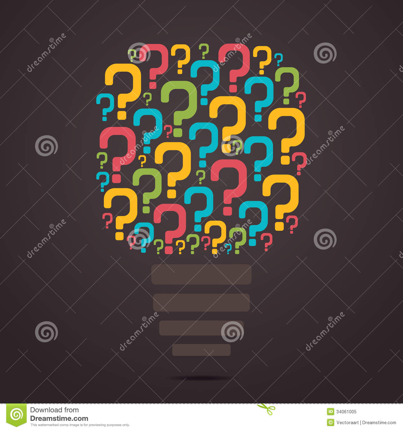 Colorful question mark bulb stock vector image 34061005 for Decor questions