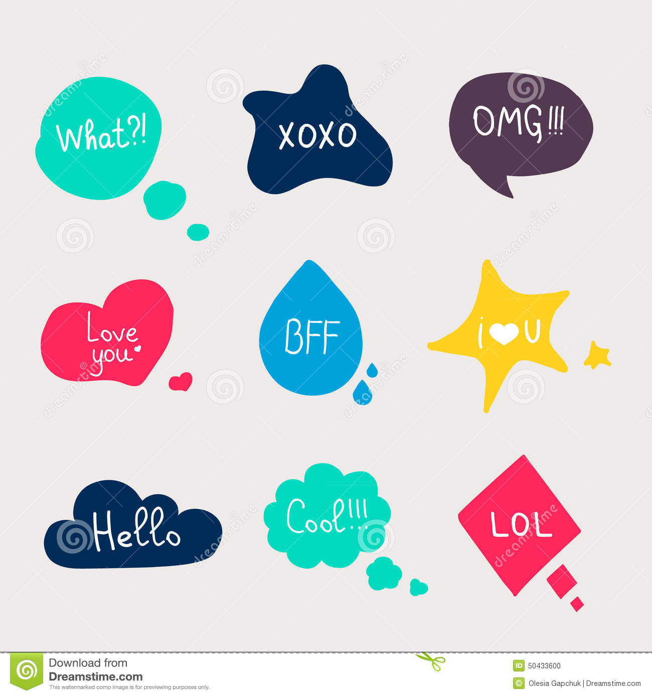 Colorful Questions Speech Bubbles Stock Vector