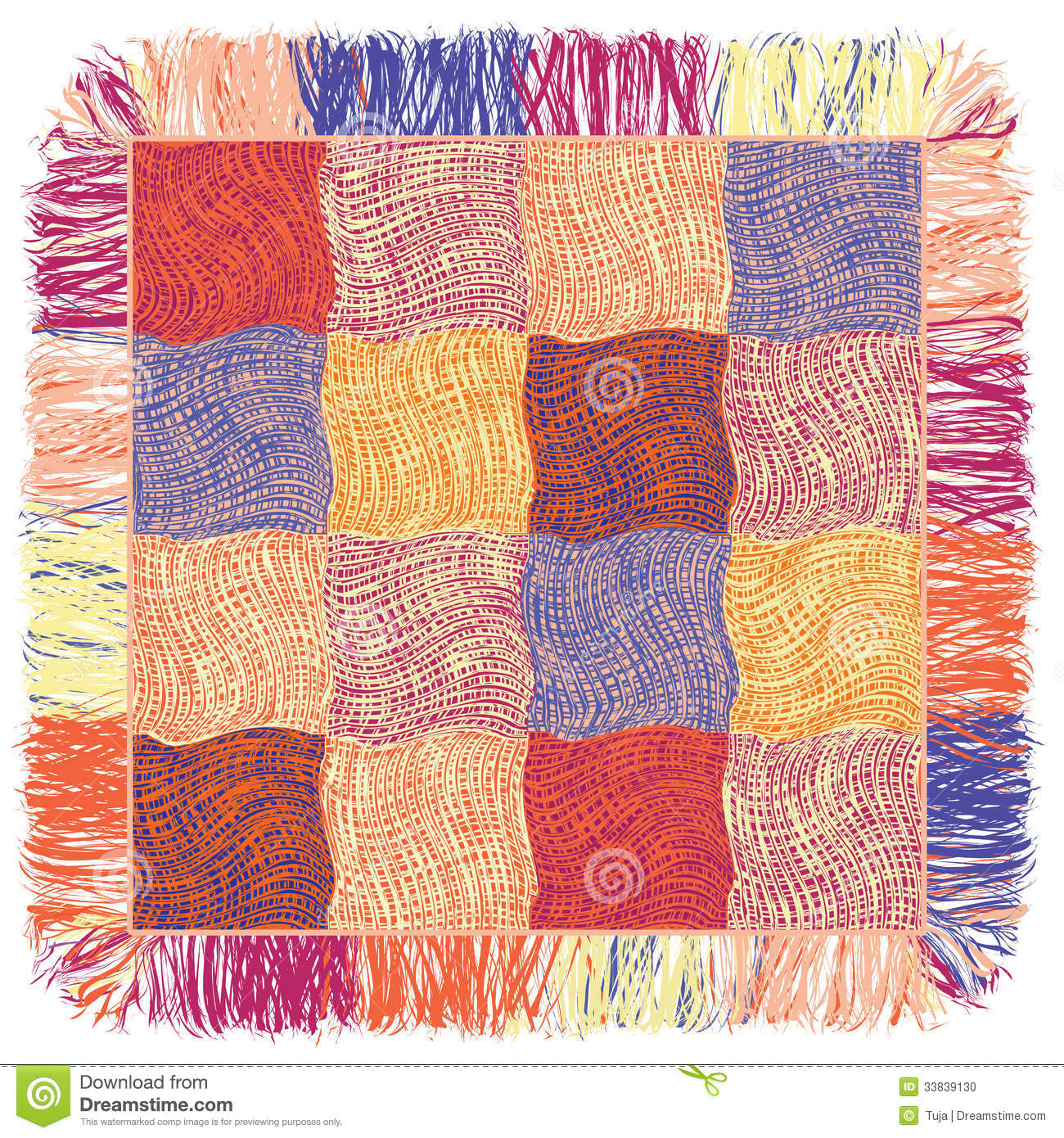 Colorful Quilt Weave Plaid With Fringe Stock Photo Image