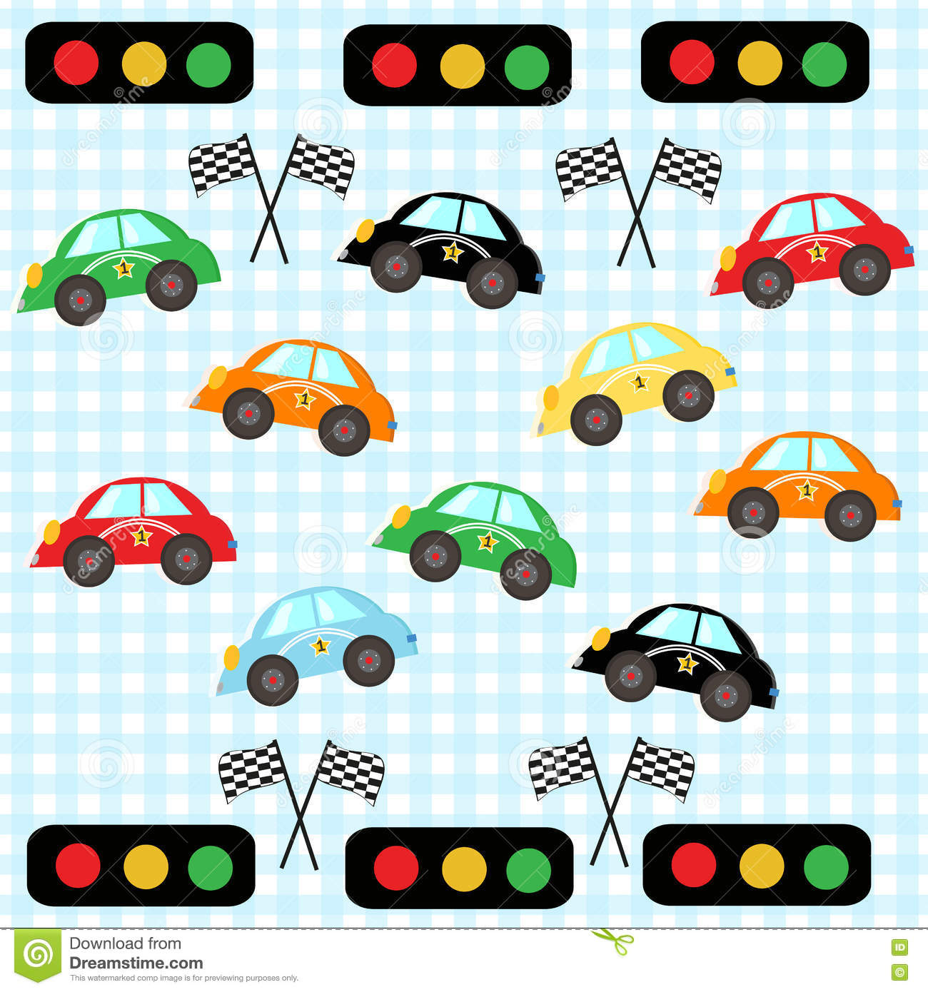 Colorful Race Car Kids Room Cars Vector Illustration Pattern