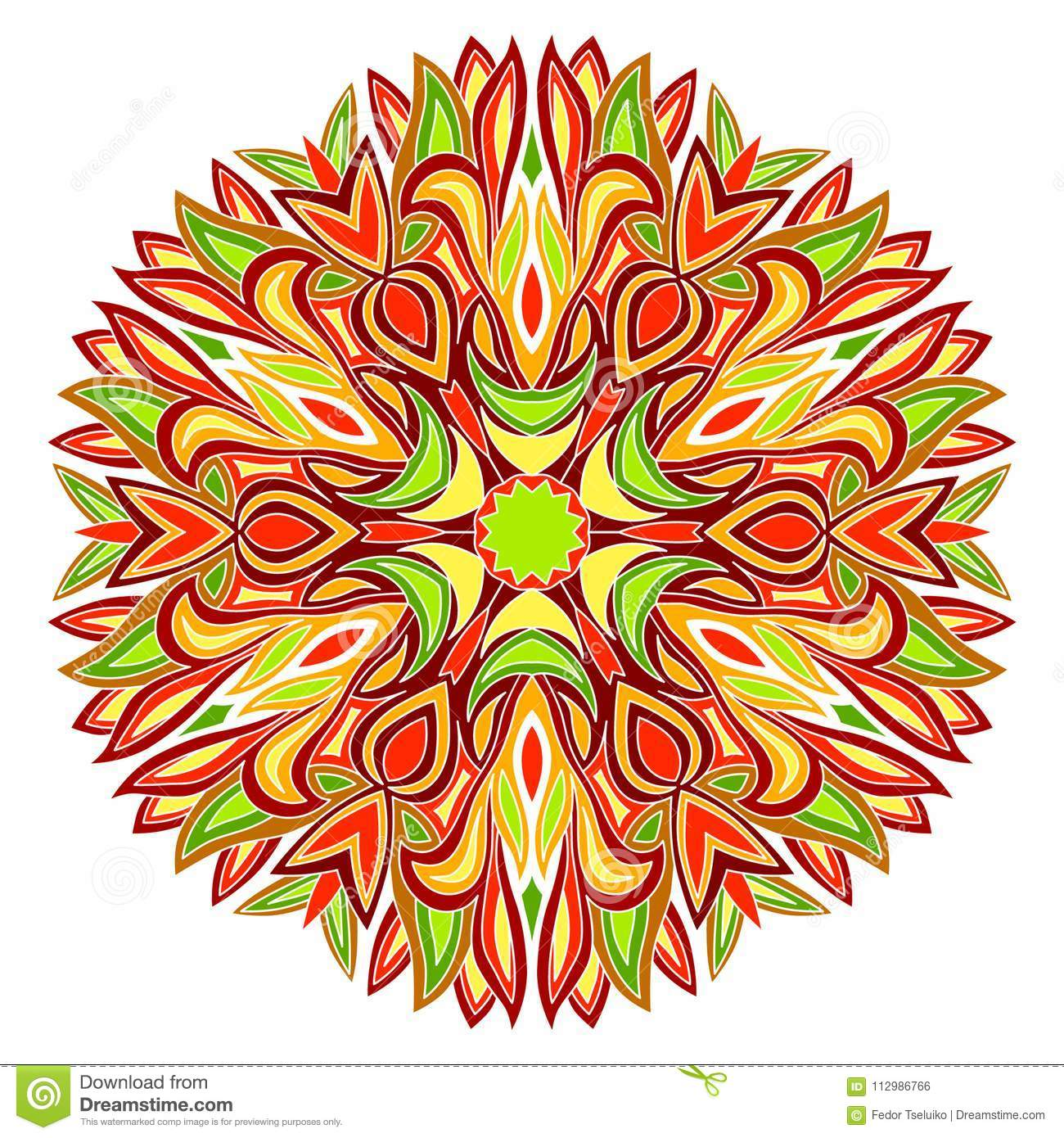 Colorful radial ornament.