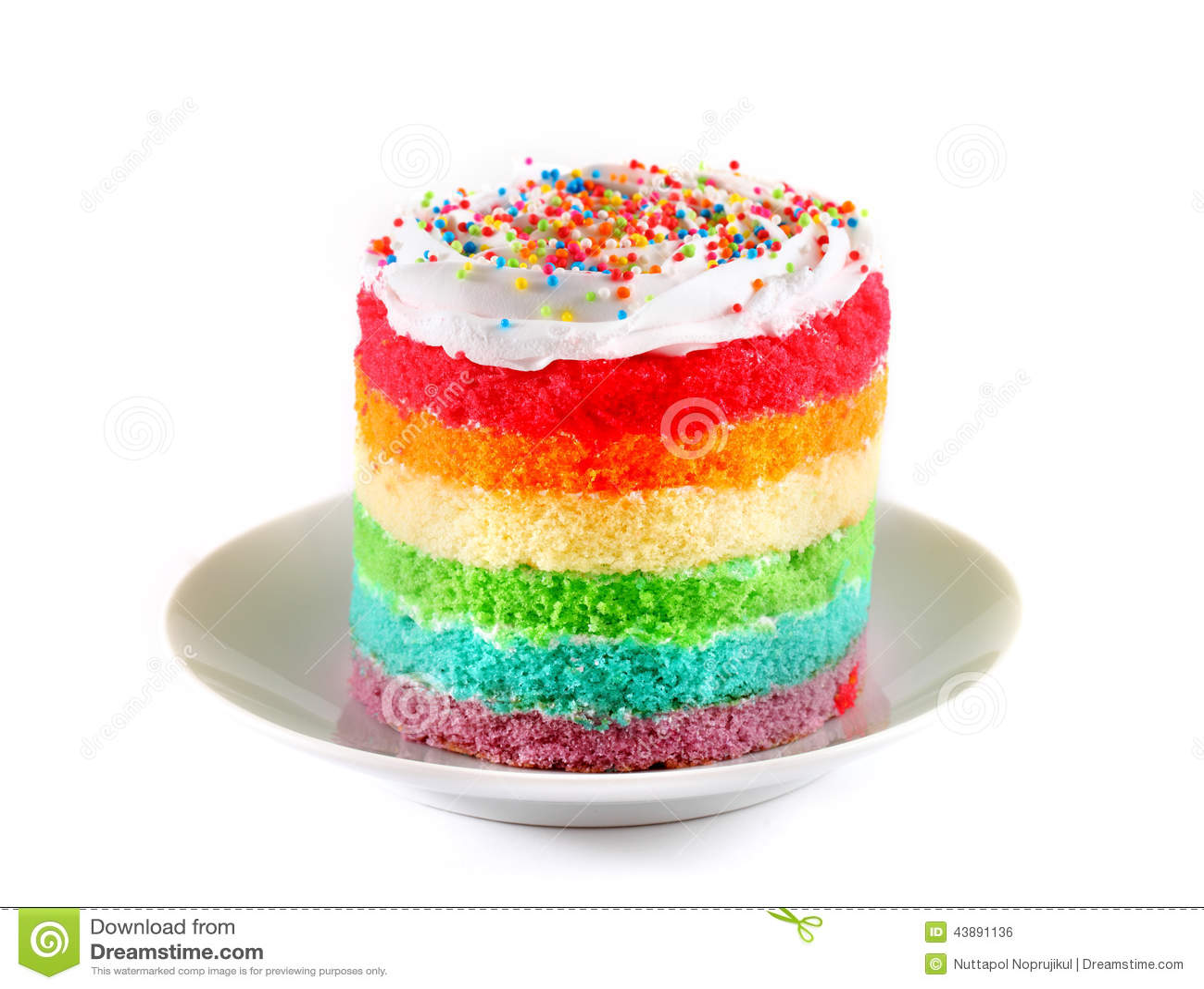 Slice Of Cake On White Plate Rainbow